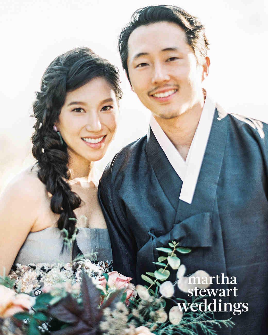 steven yeun walking dead wedding couple portrait