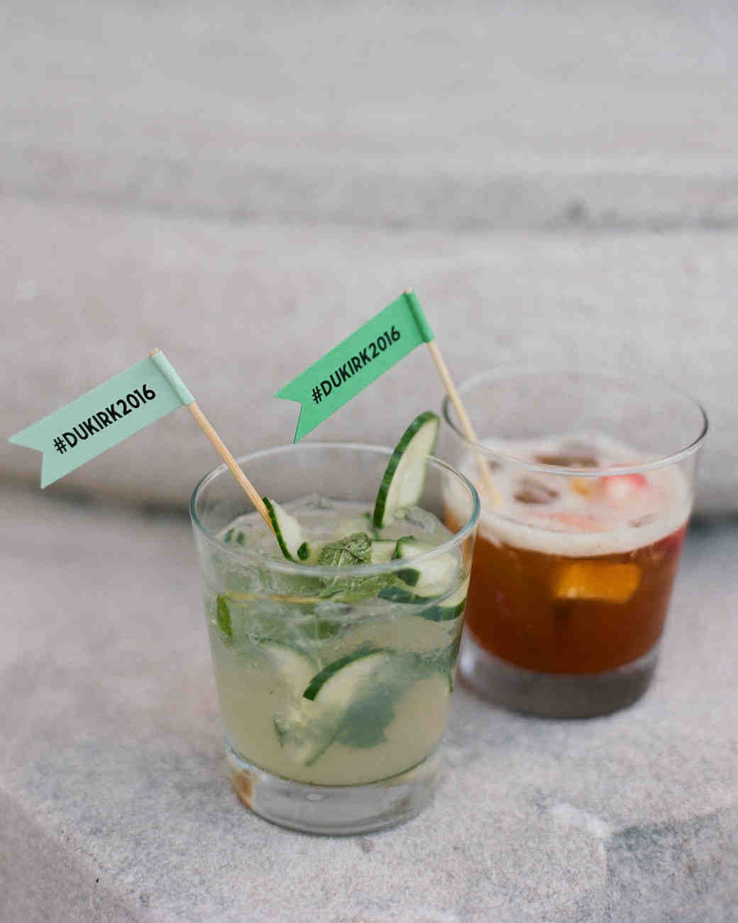 signature wedding cocktails with drink flags