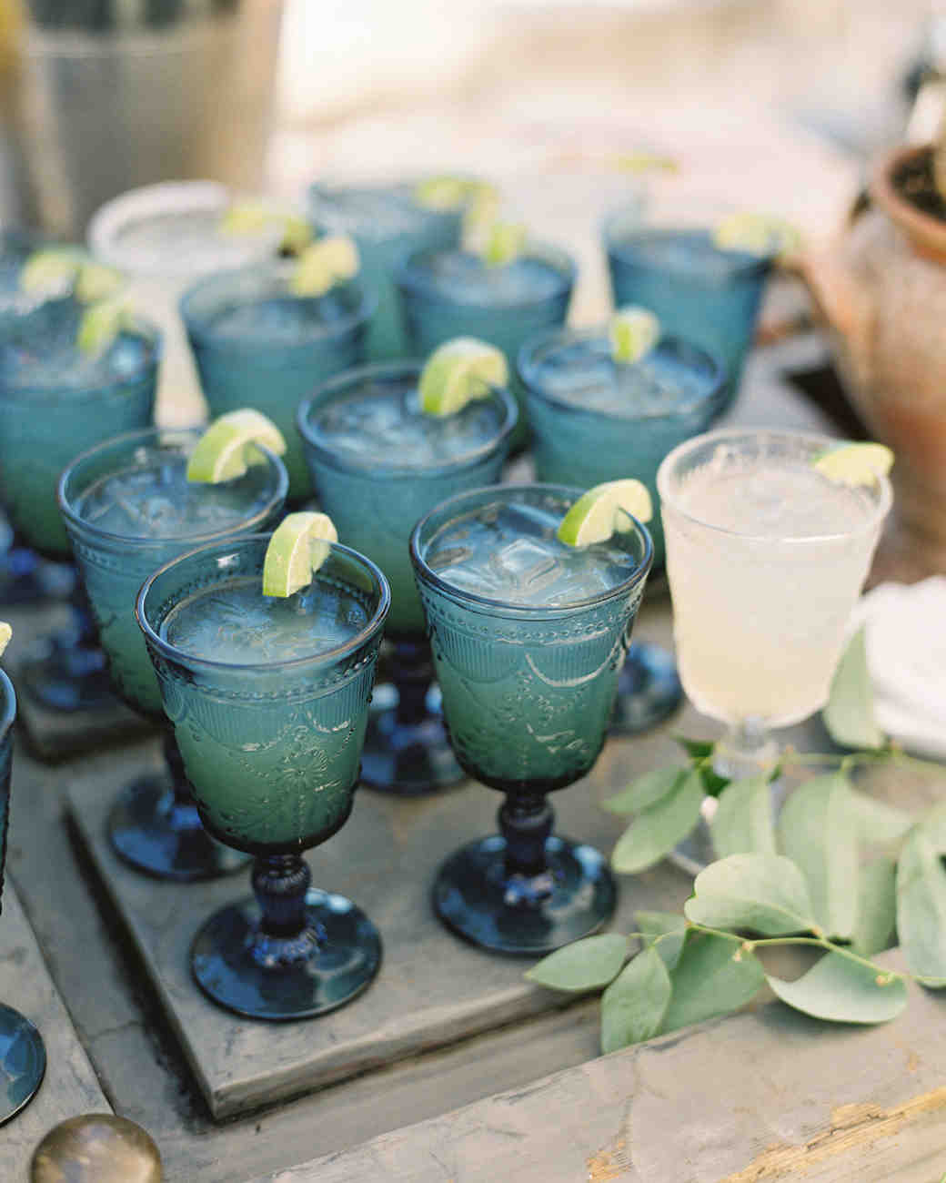 laurie michael wedding blue glassware