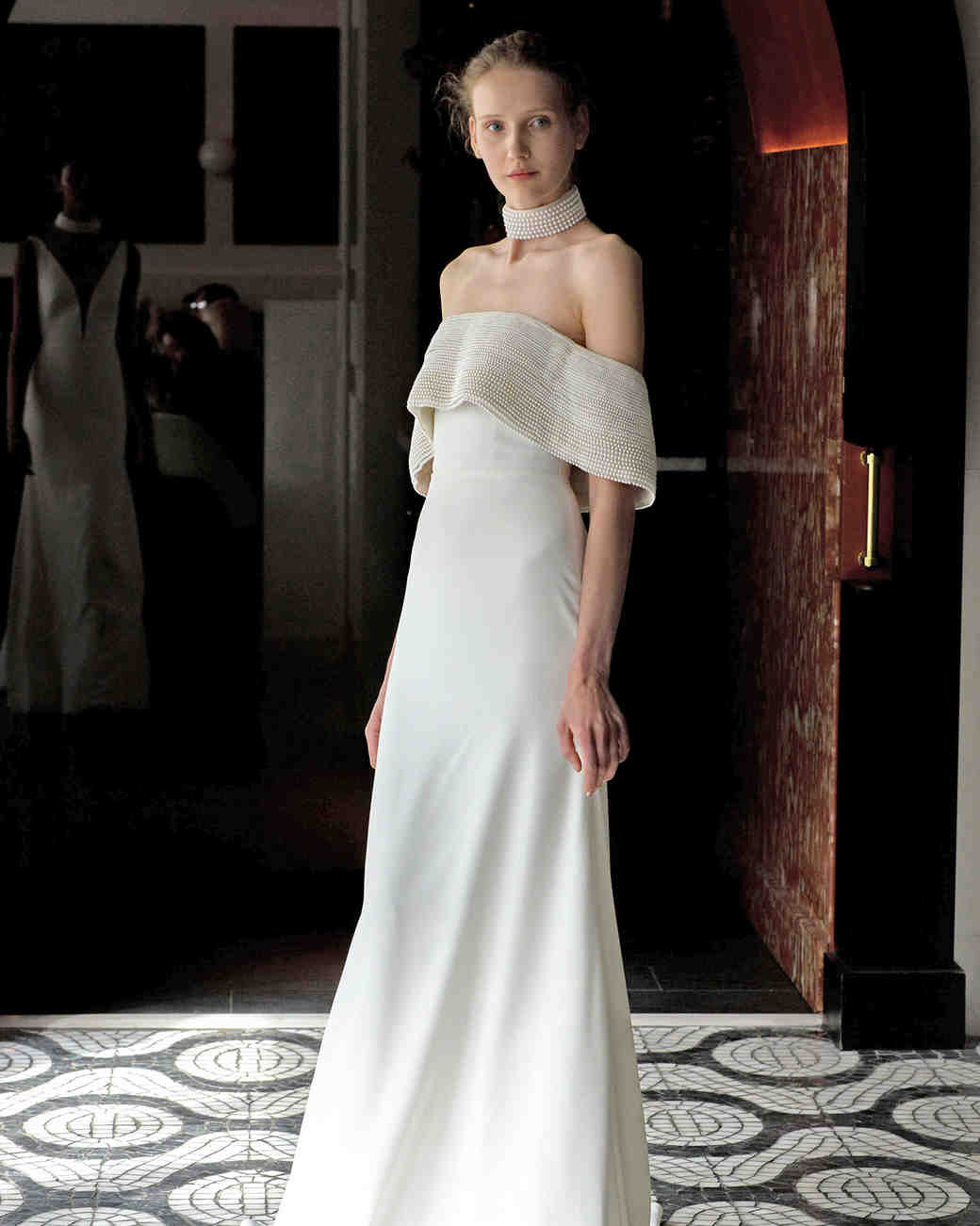 lela rose wedding dress spring 2018 draped off-the-shoulder