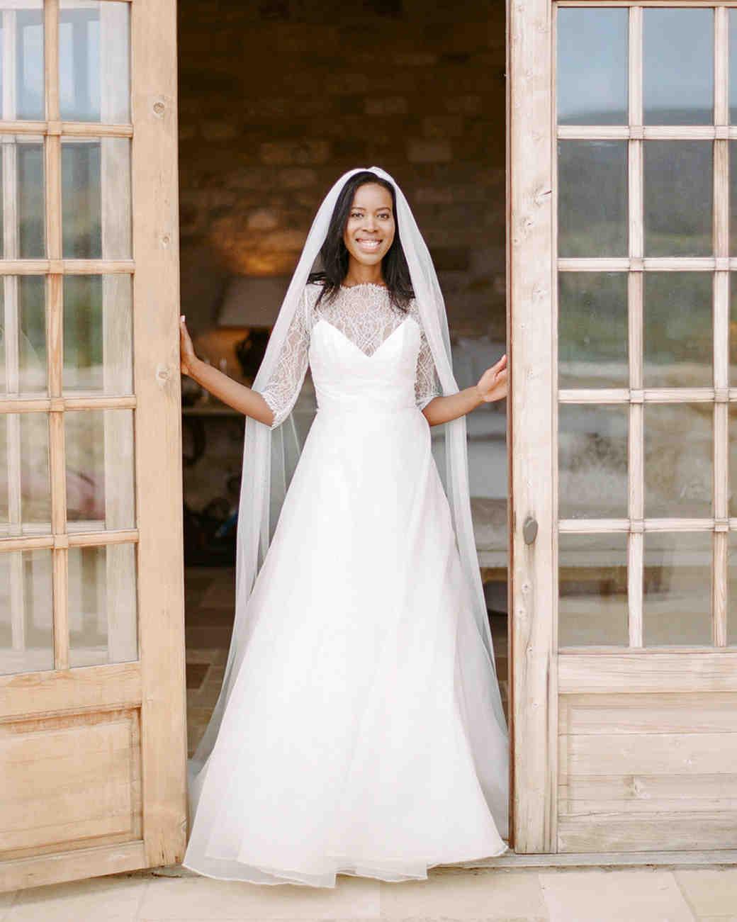 Real Brides Wearing Long-Sleeved Wedding Dresses | Martha Stewart ...