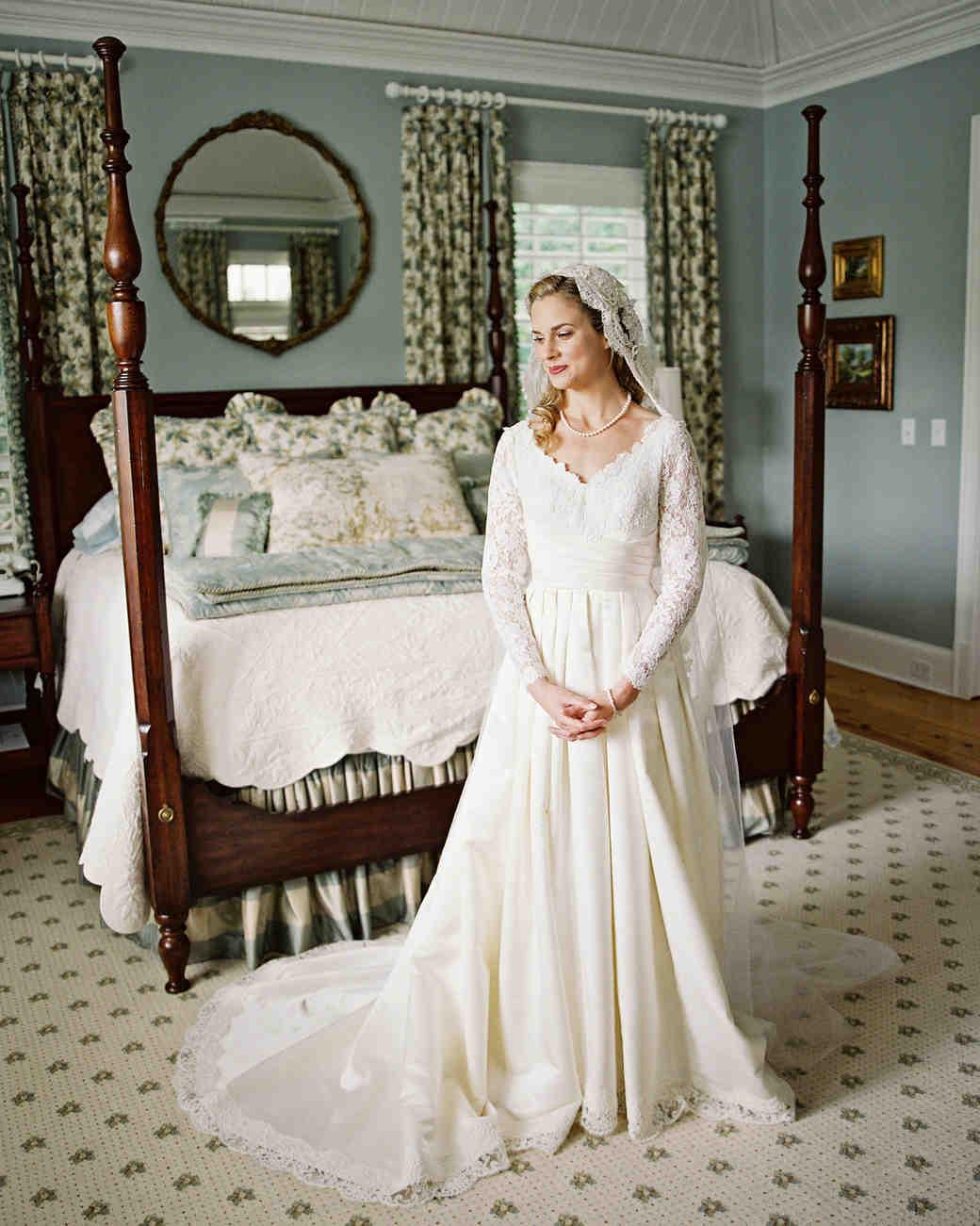 Real Brides Wearing Long Sleeved Wedding Dresses Martha Stewart