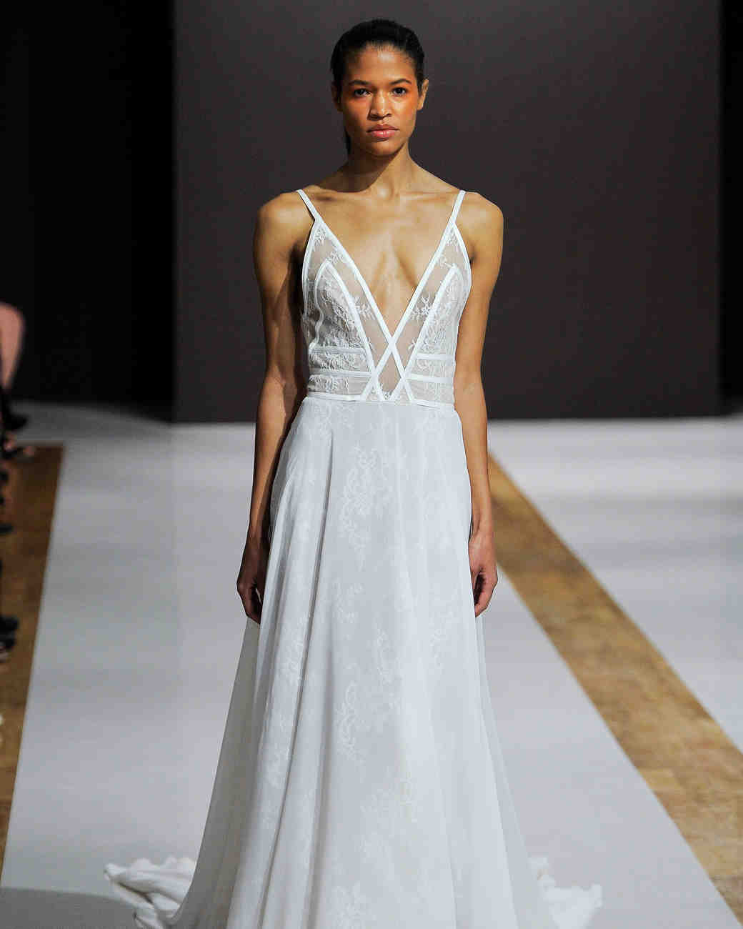 mark zunino wedding dress fall 2018 spaghetti strap deep v sheer panelsr