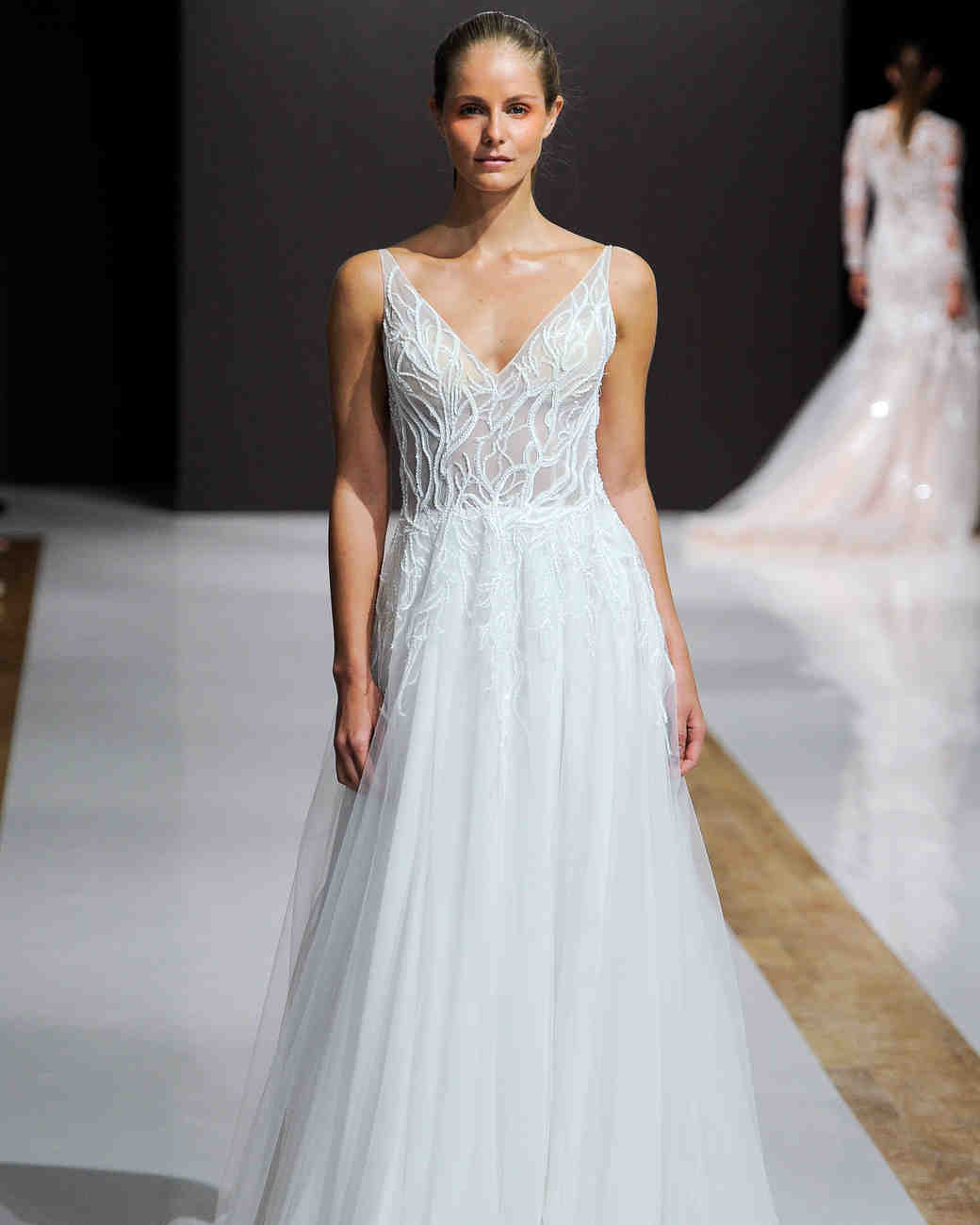 mark zunino wedding dress fall 2018 v neck a-line sheer