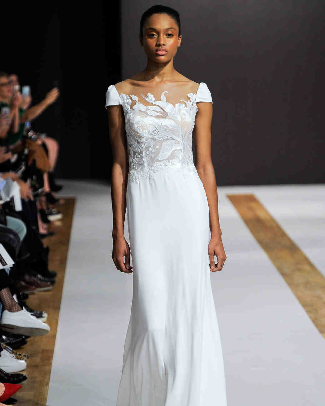 mark zunino wedding dress fall 2018 cap sleeves flowy illusion neckline