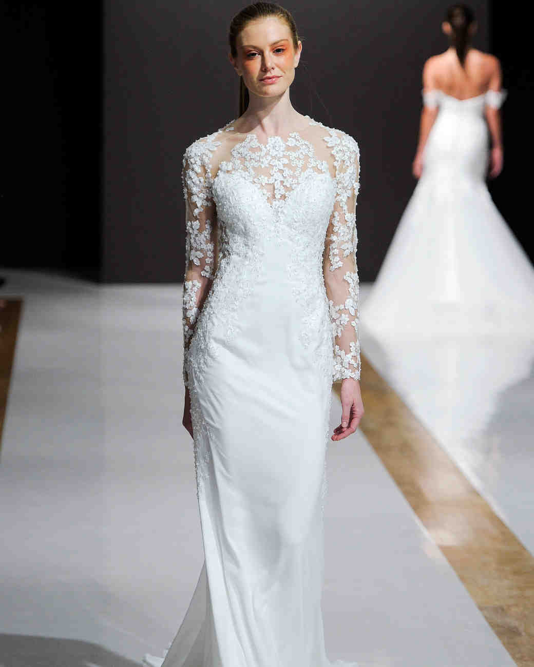 mark zunino wedding dress fall 2018 long sleeves illusion neckline column