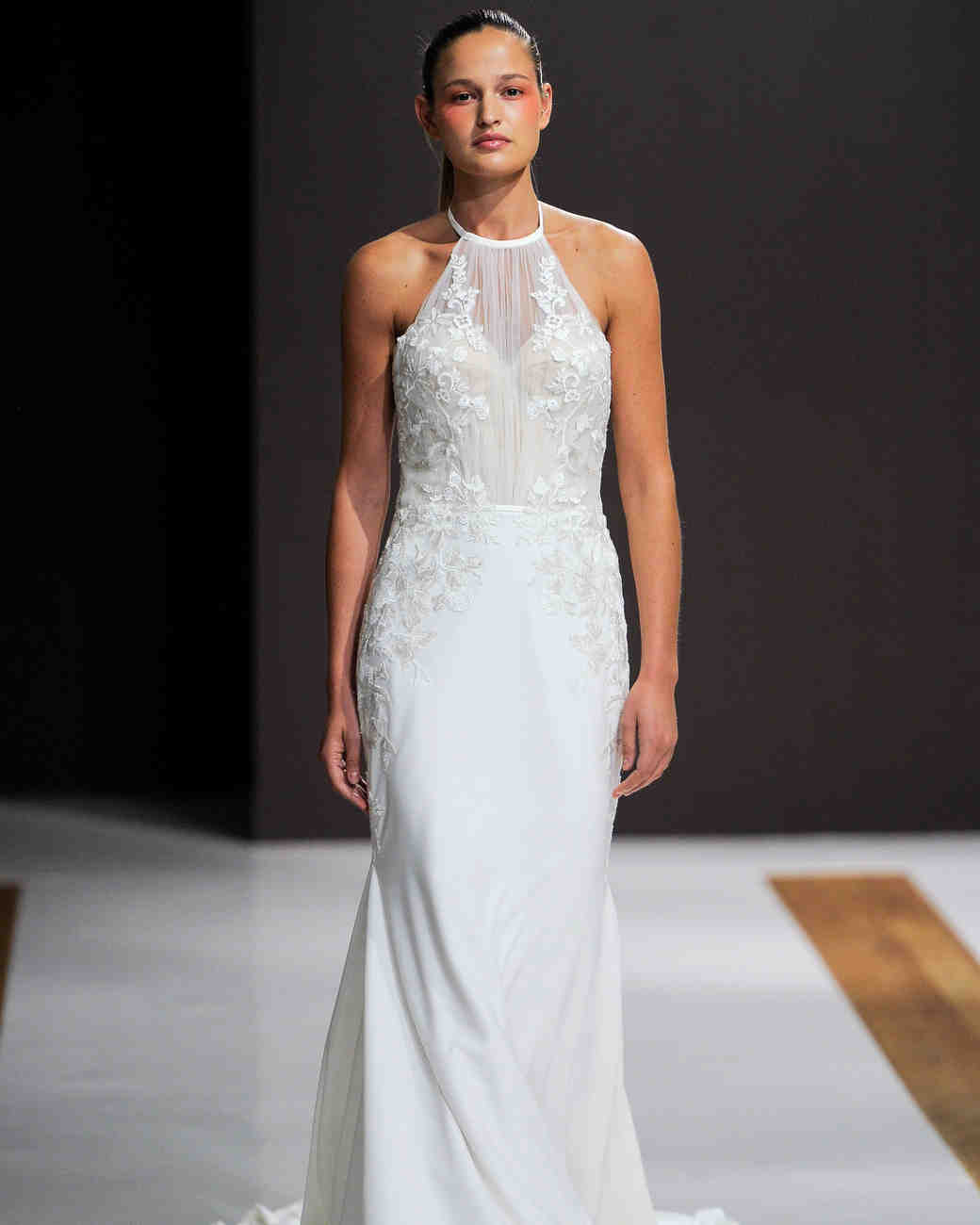 mark zunino wedding dress fall 2018 halter flowy column