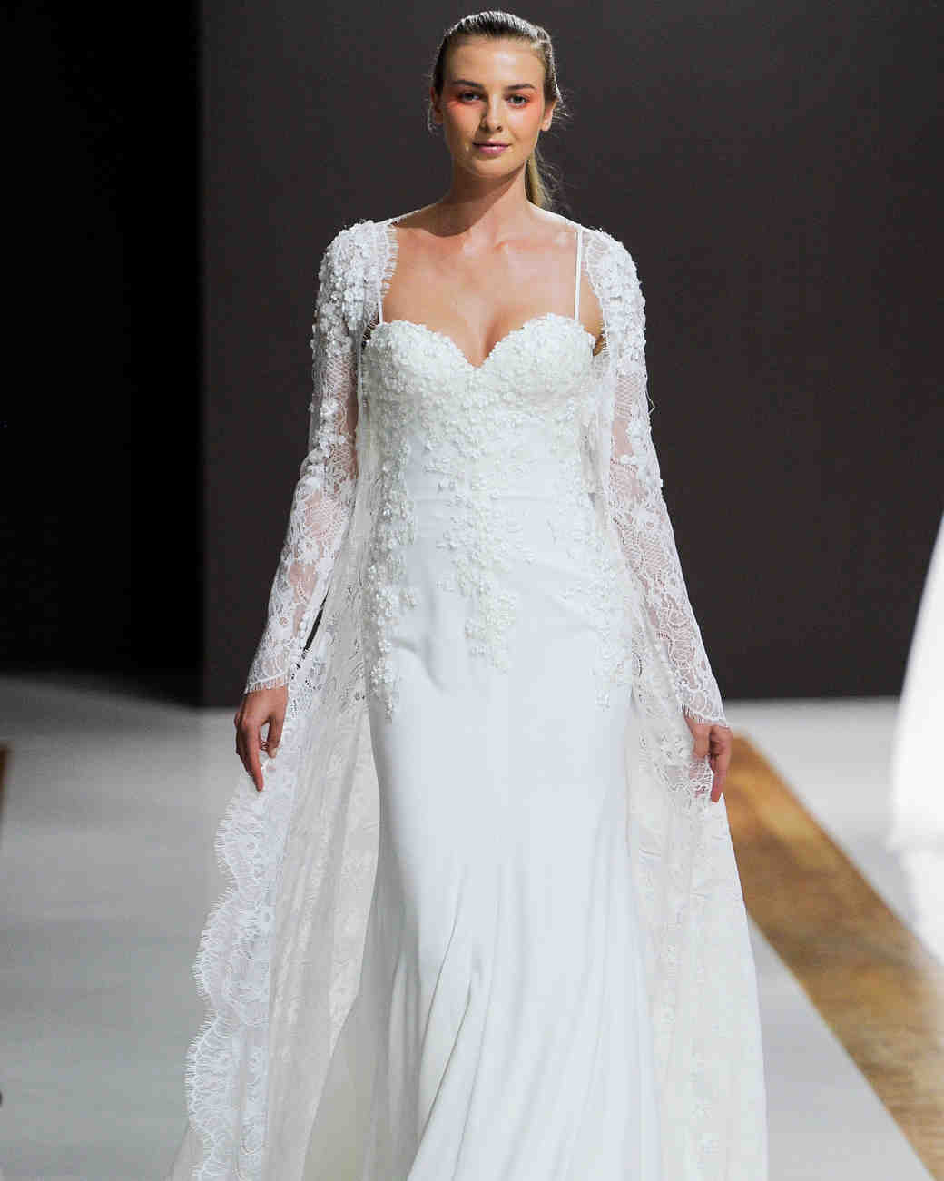 mark zunino wedding dress fall 2018 spaghetti strap embellished sleeves