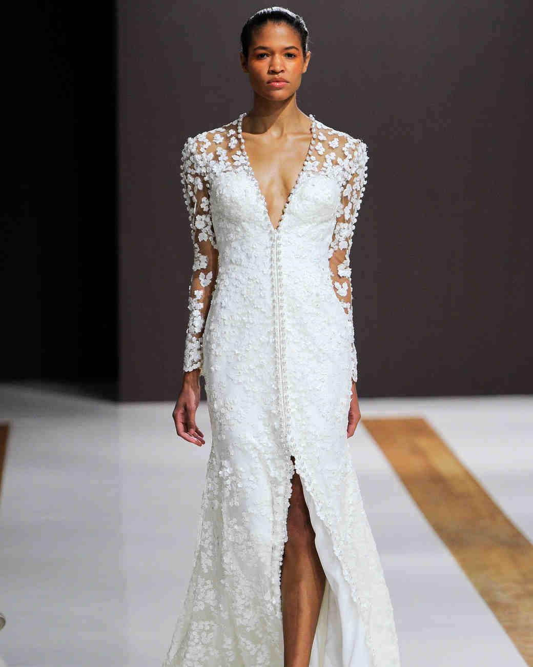 mark zunino wedding dress fall 2018 deep v long sleeves buttons slit