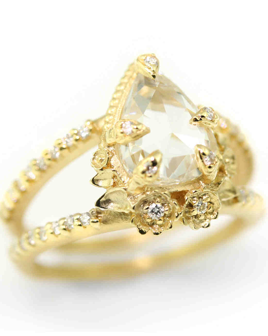 Pear Cut Diamond Engagement Rings Martha Stewart Weddings