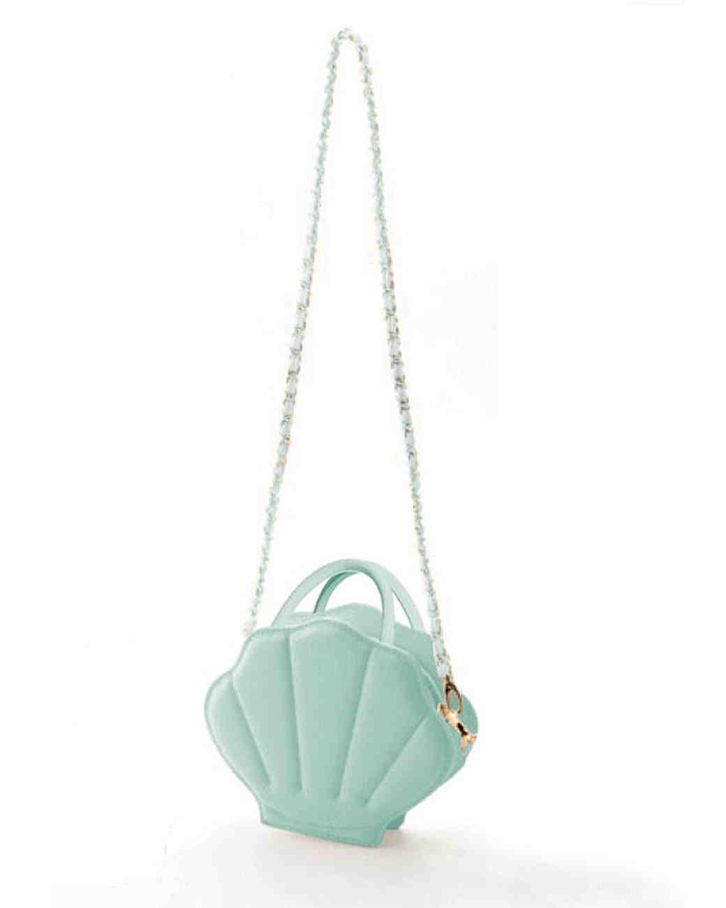 teal mermaid shell flower girl purse