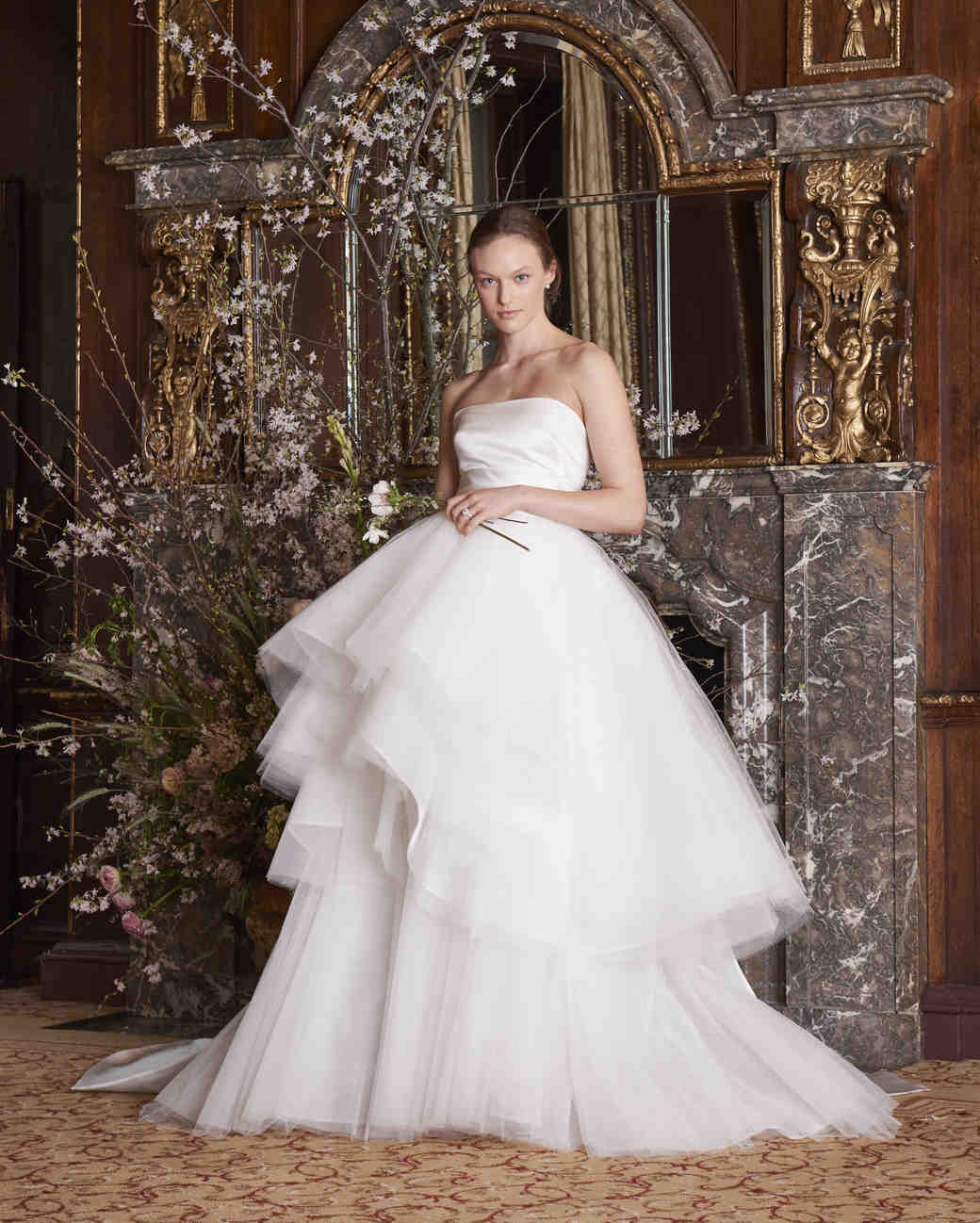 monique lhuillier wedding dress spring 2019 tiered tulle