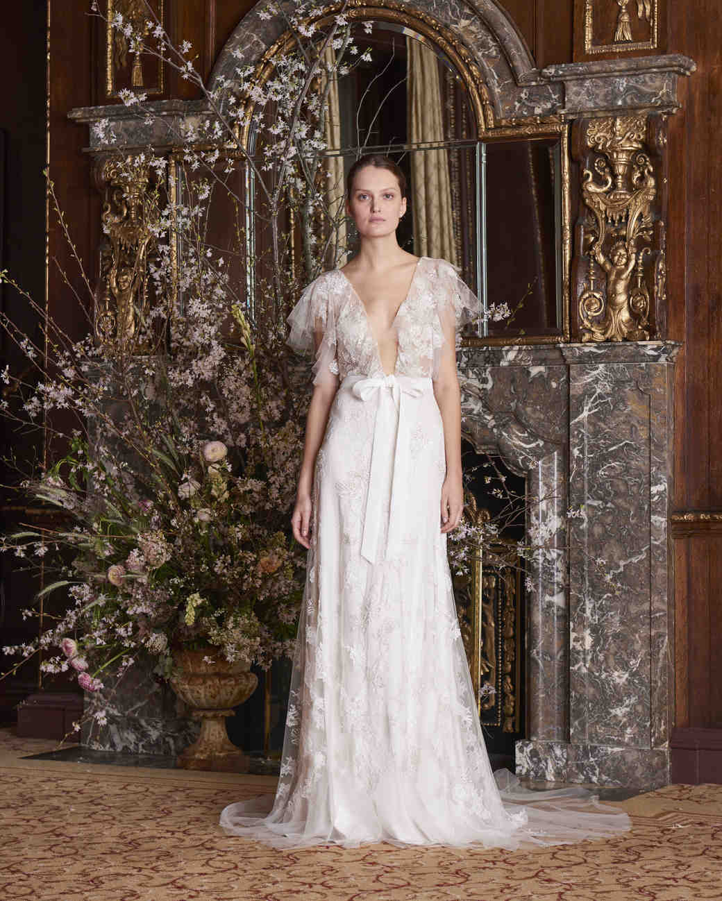 monique lhuillier wedding dress spring 2019 vneck floral lace