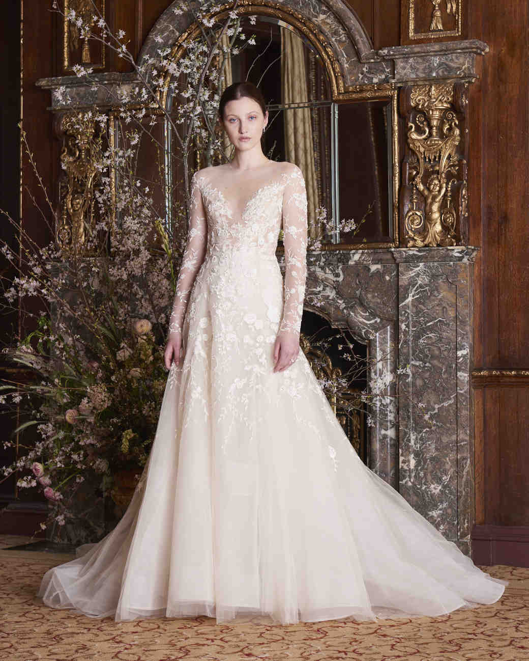 monique lhuillier wedding dress spring 2019 long sleeve lace