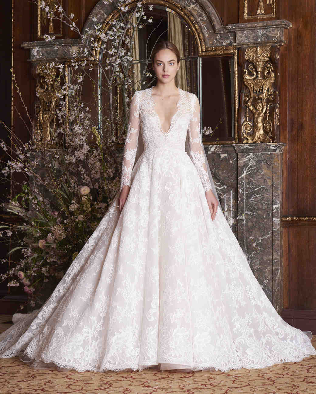 Long sleeved wedding dresses we love martha stewart weddings monique lhuillier wedding dress spring 2019 v neck long sleeve junglespirit