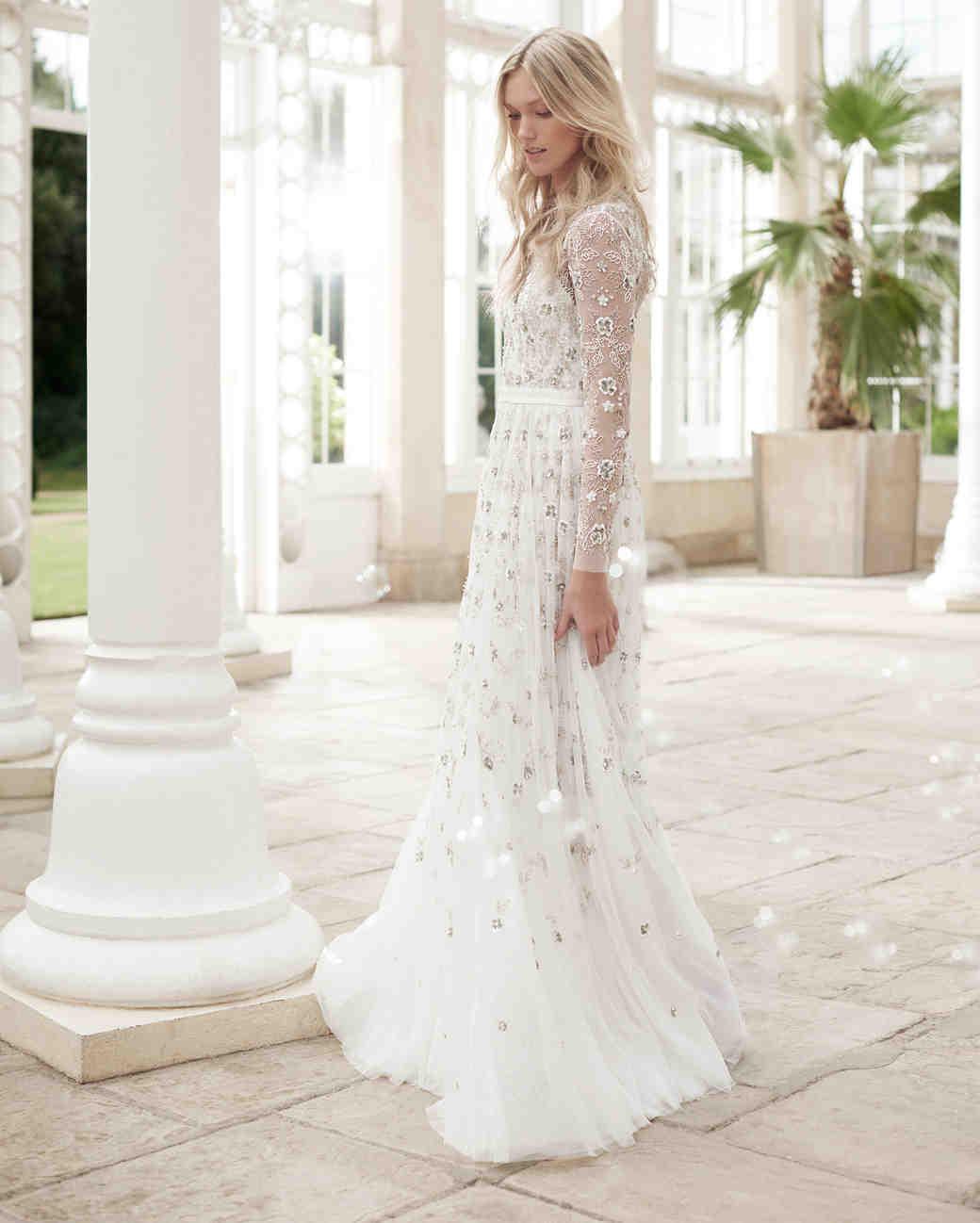 needle and thread wedding dress spring2017 sheer sleeves