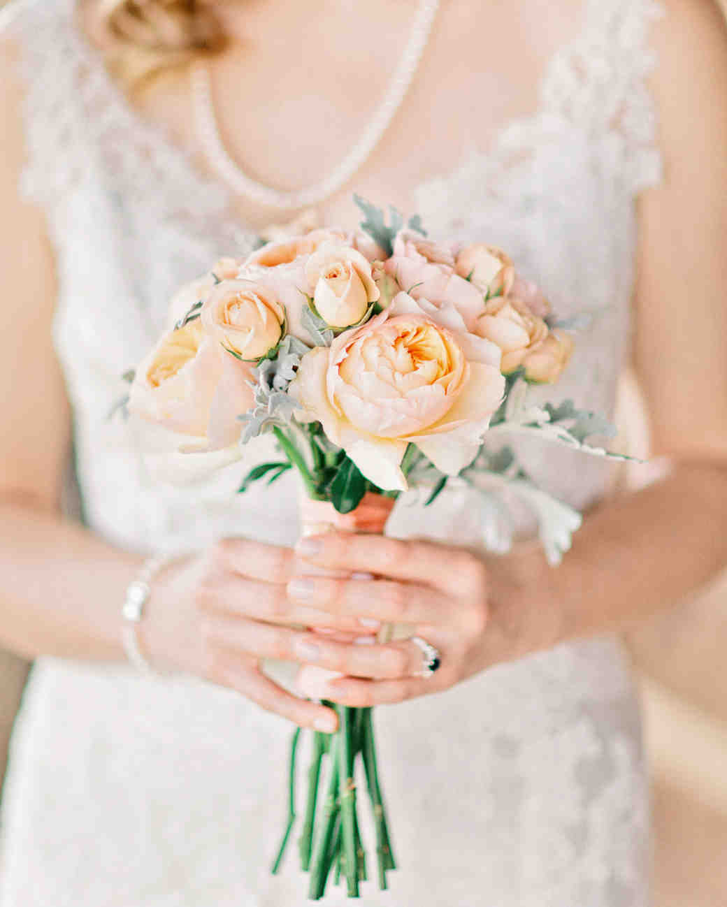 bouquet with peach garden roses