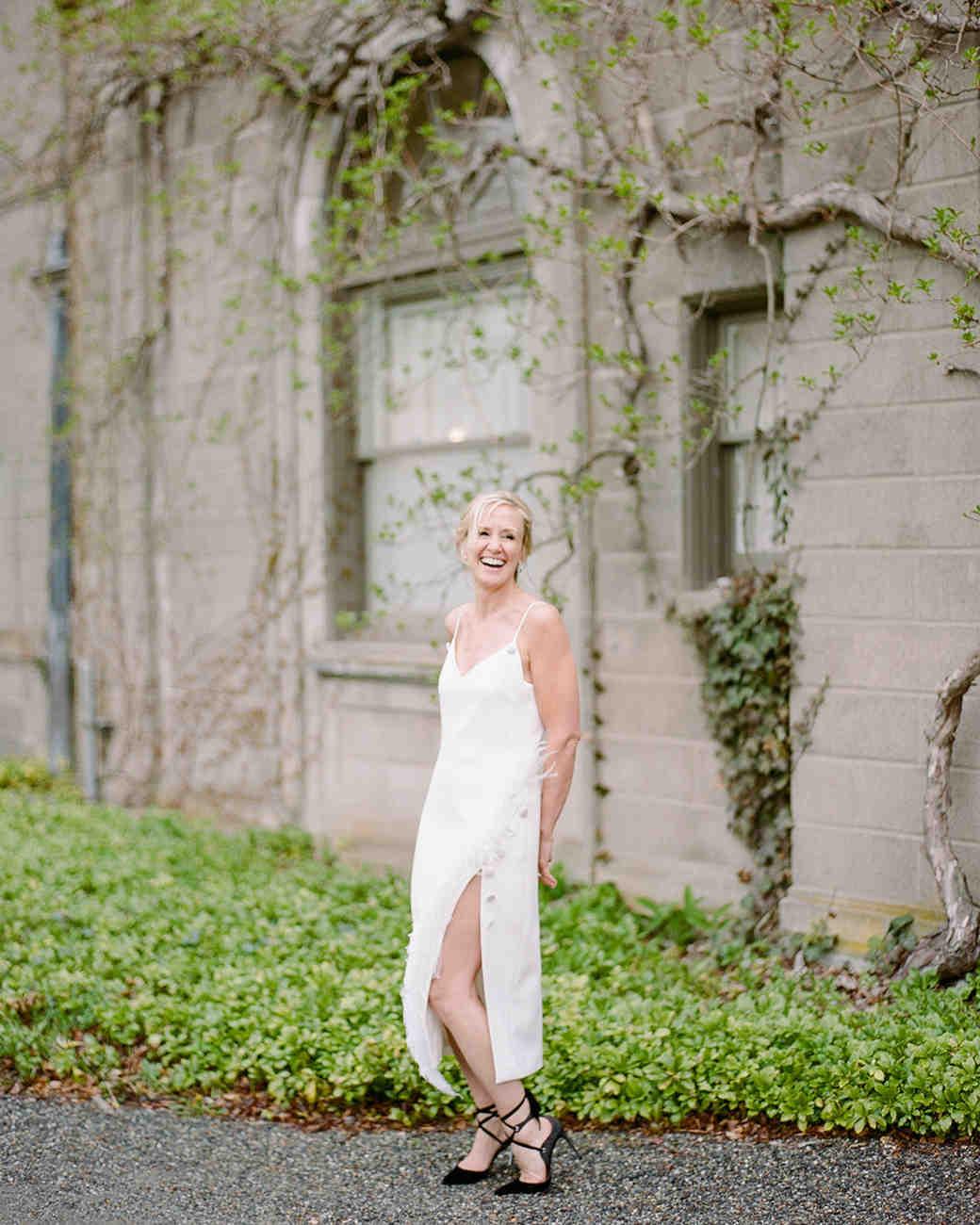 a9fc0d06981 wedding reception dresses spaghetti strap tea length dress with slit
