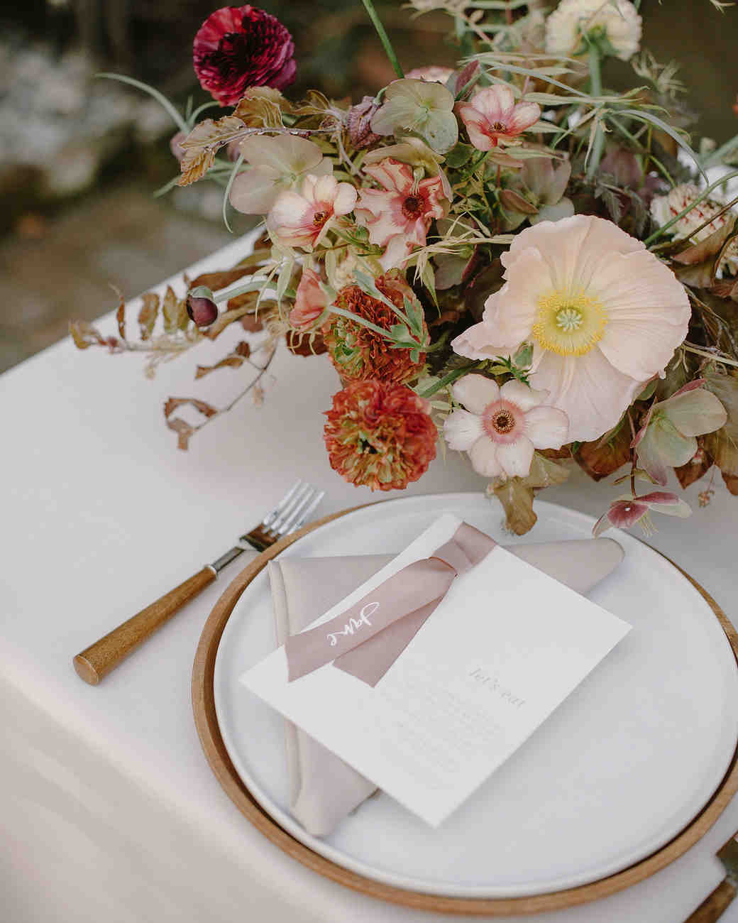 ribbon wedding ideas pink ribbon place card attached to menu