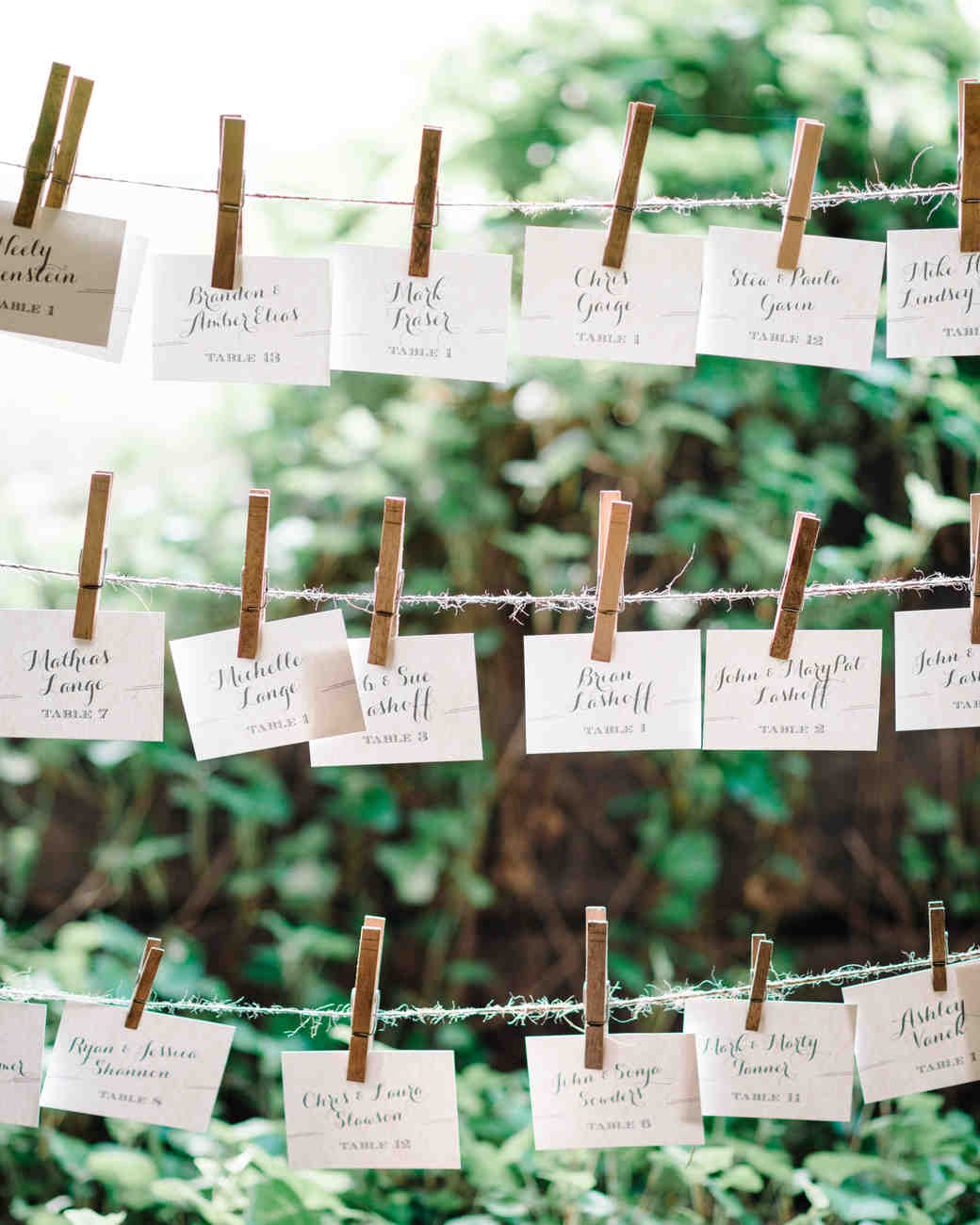 Rustic twine and clothespin seating chart