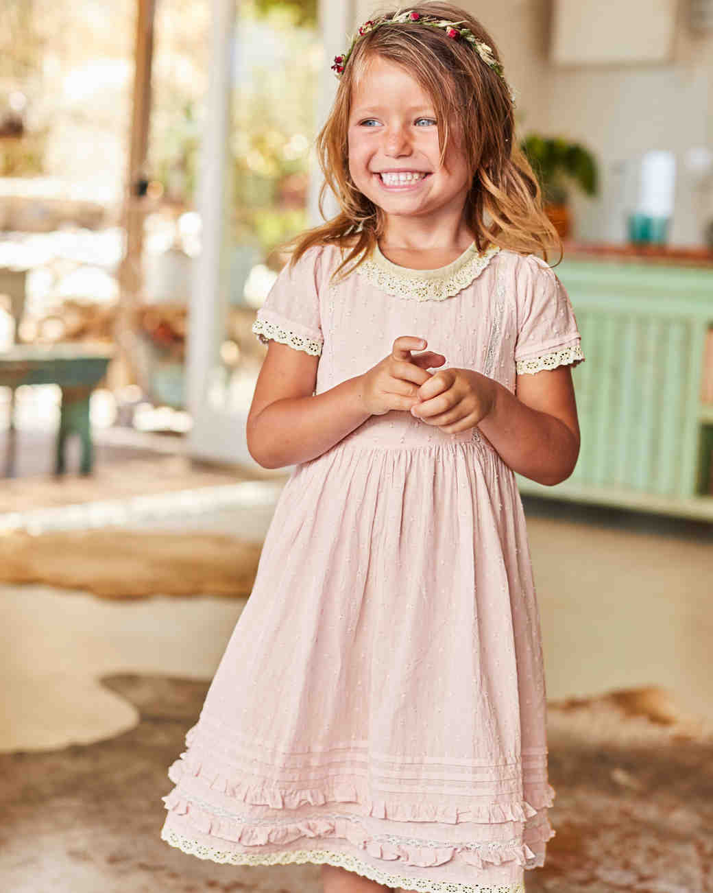 Short Sleeve Flower Girl Dress, Boden Pink Dress with Lace Trim