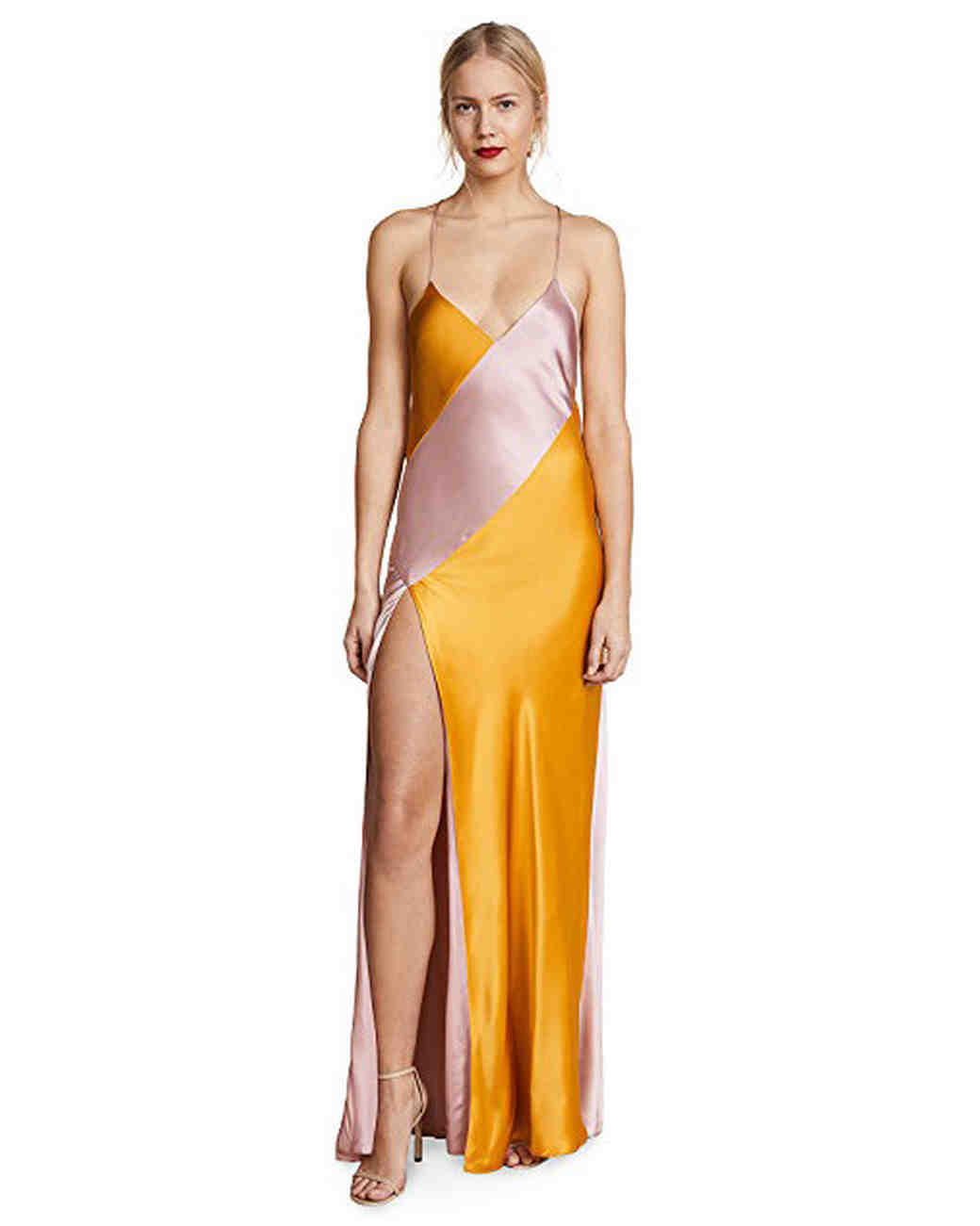 yellow pink silk bridesmaid dress