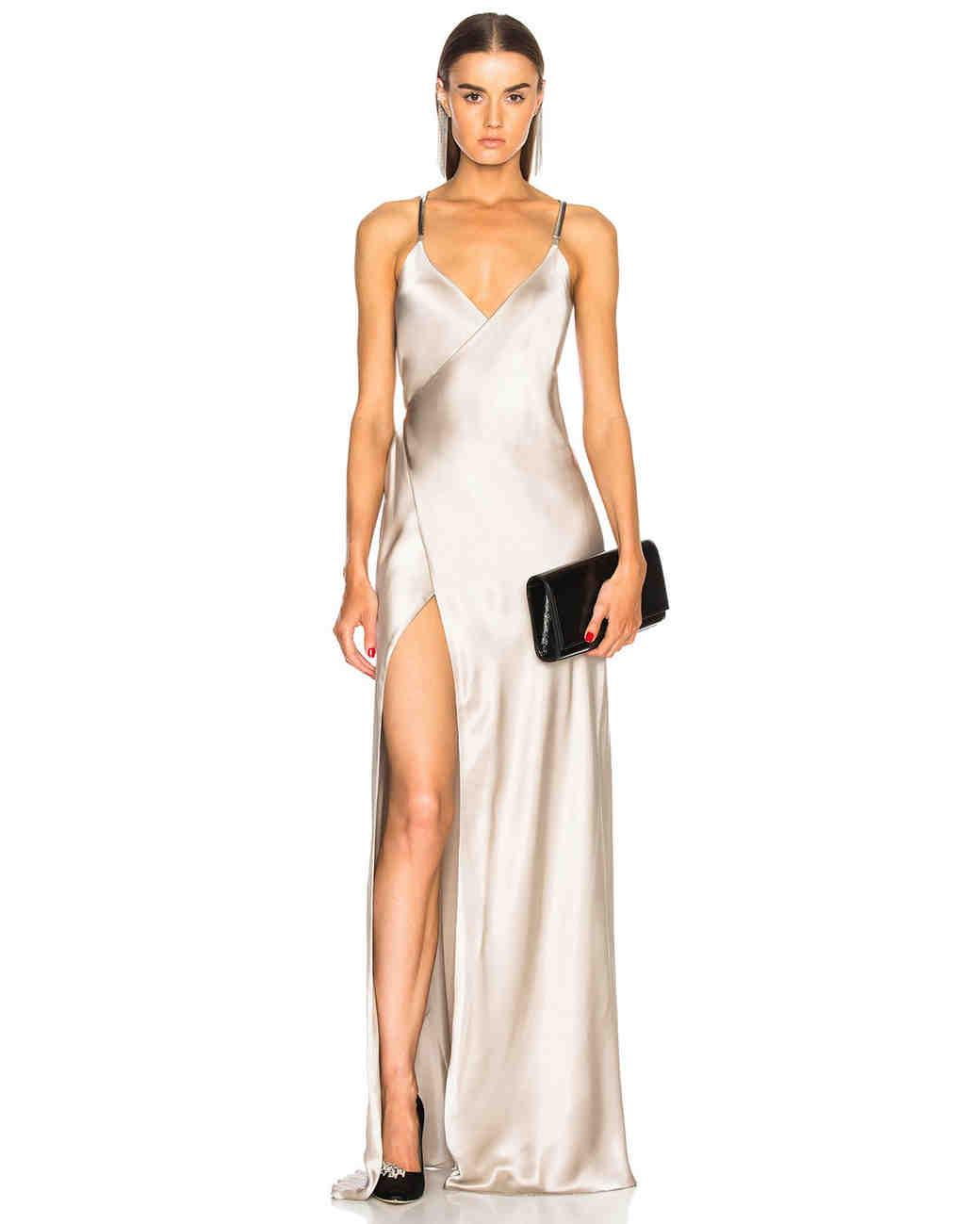 silver silk wedding dress