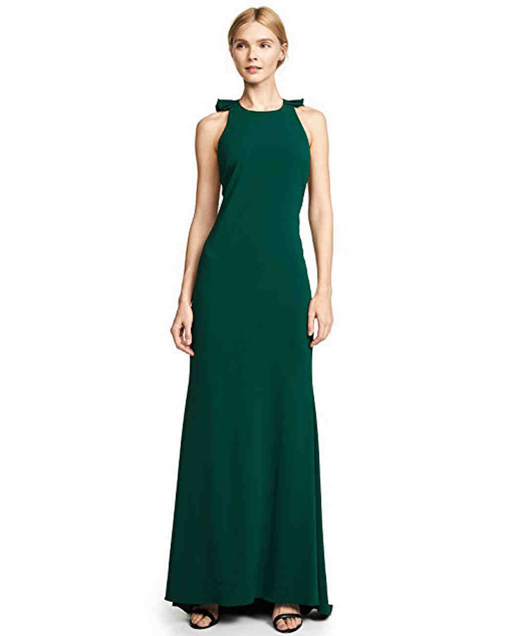 Badgley Mischka Collection Ruffle-Back Gown