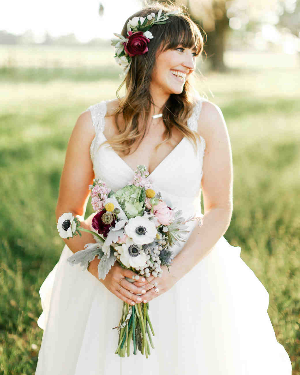bride wearing succulent flower crown