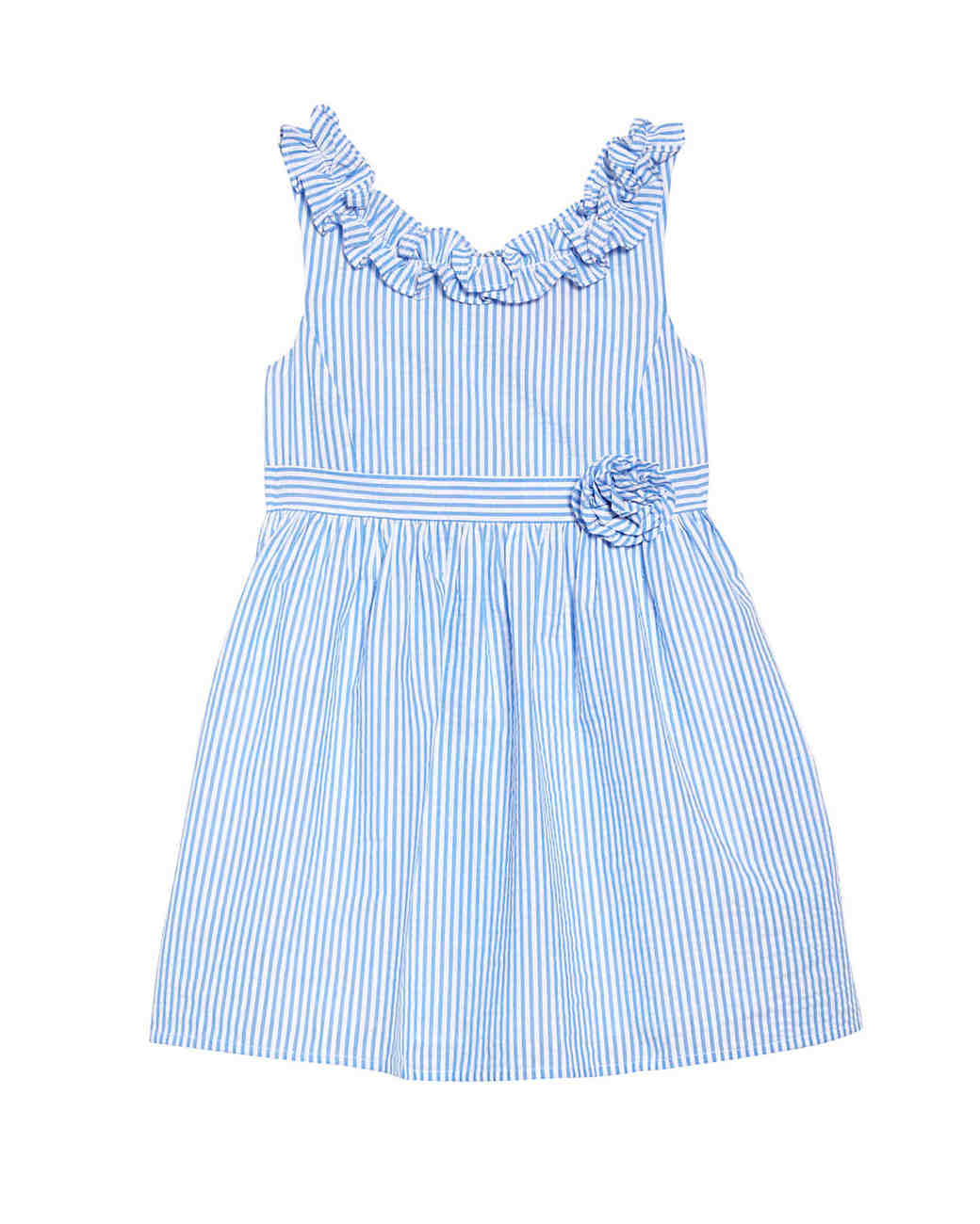 summer flower girl outfit blue striped dress