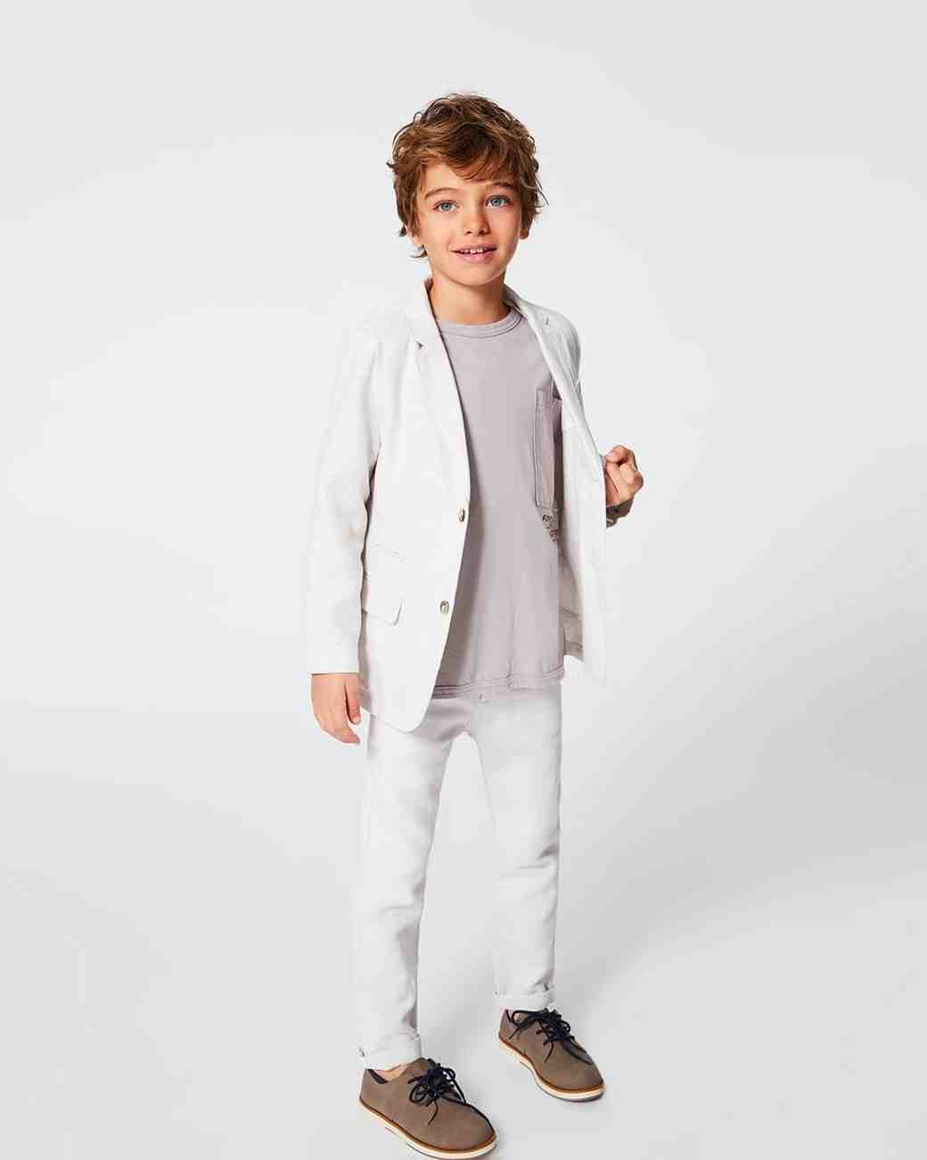 Summer Ring Bearer Attire, White Zara Suit