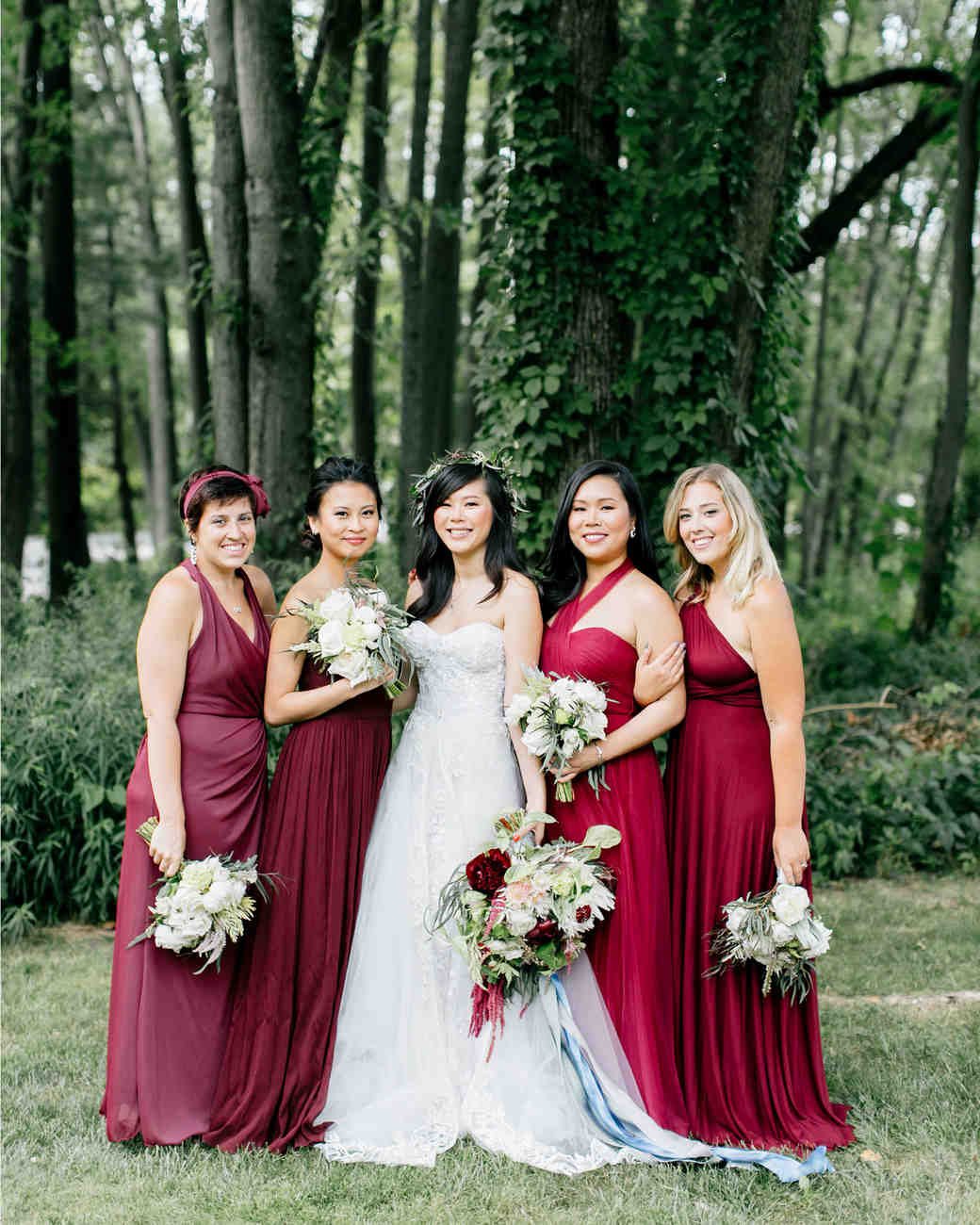Burgundy bridesmaid dresses martha stewart weddings ombrellifo Gallery
