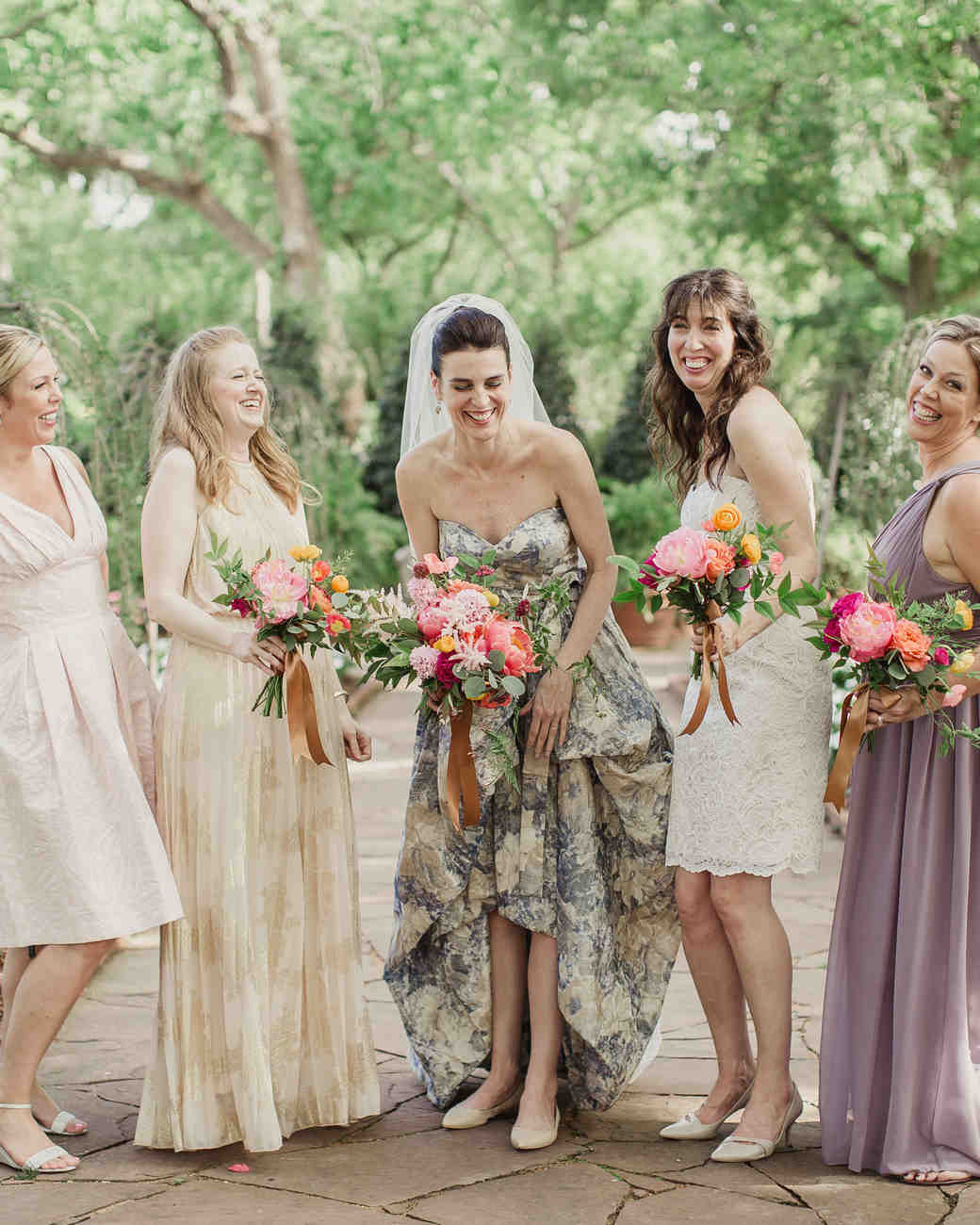What your bridesmaids dresses say about you martha stewart weddings mismatched neutral bridesmaids dresses ombrellifo Image collections