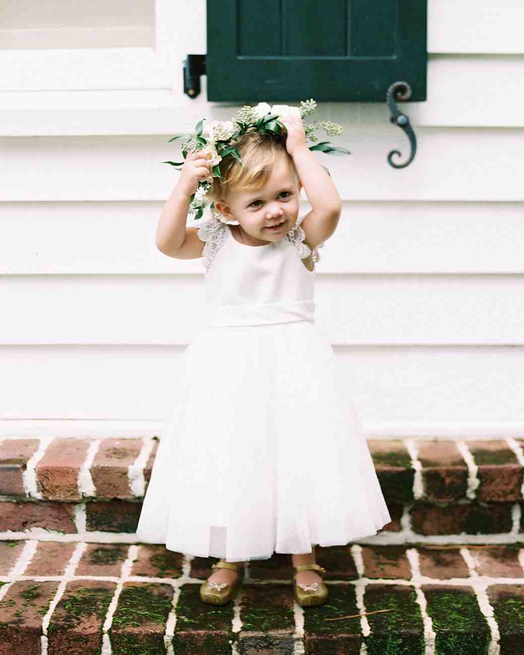 68 flower crown ideas to complete your wedding hairstyle martha flower girl with green and white flower crown izmirmasajfo