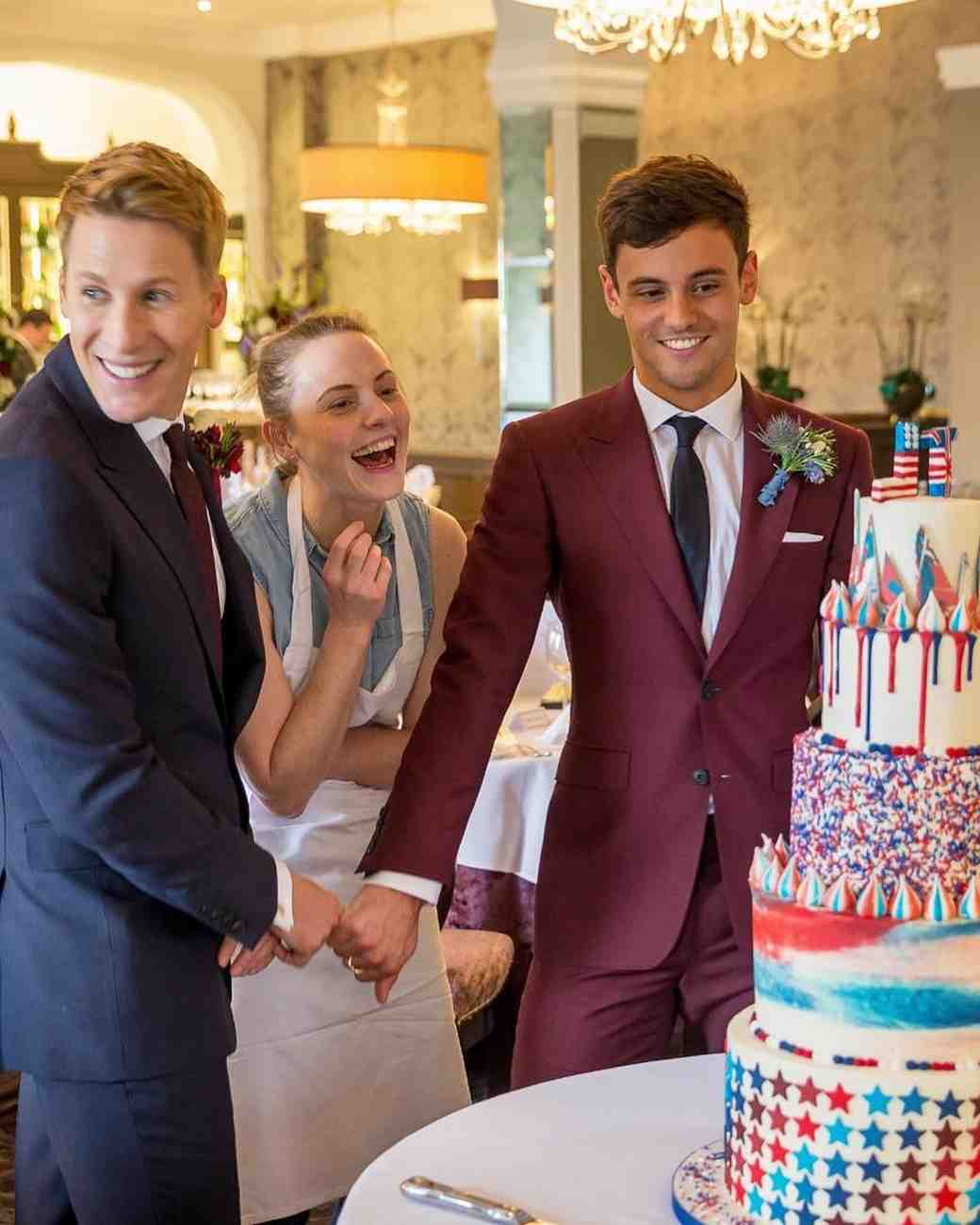 Tom Daley surprises Dustin Lance Black with a patriotic wedding cake
