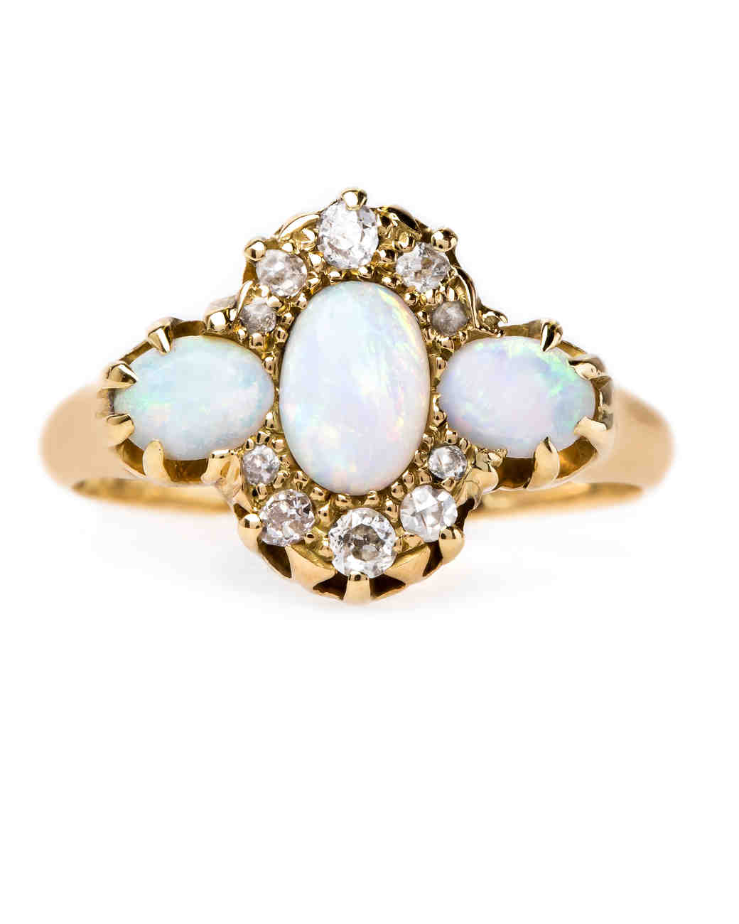 trumpet horn opal engagement ring - Opal Wedding Ring
