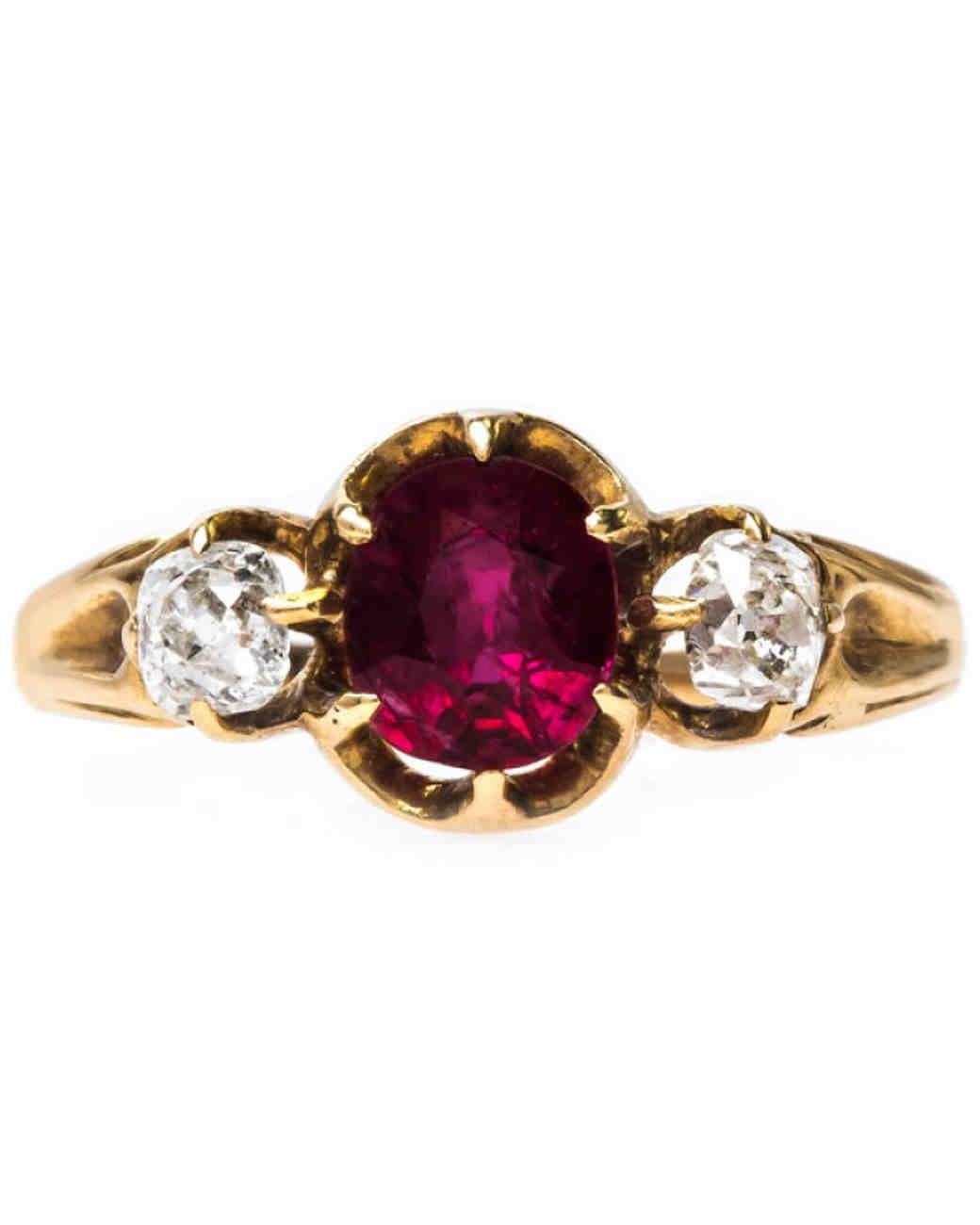 "Trumpet & Horn ""Redfern"" Victorian Era Ruby Engagement Ring"