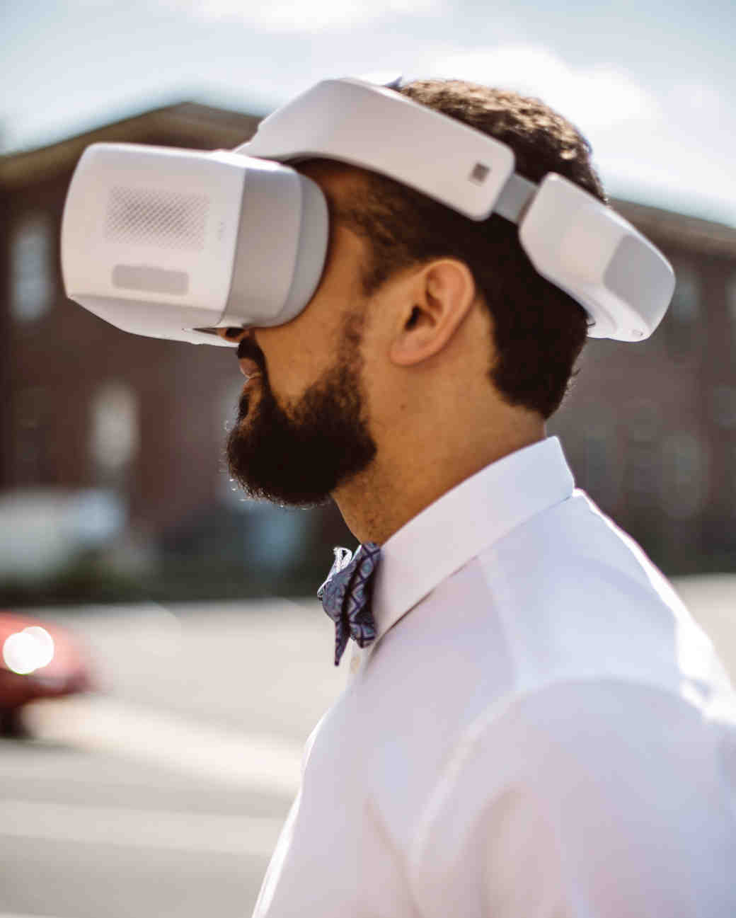 vasthy mason wedding groom wearing virtual reality headset