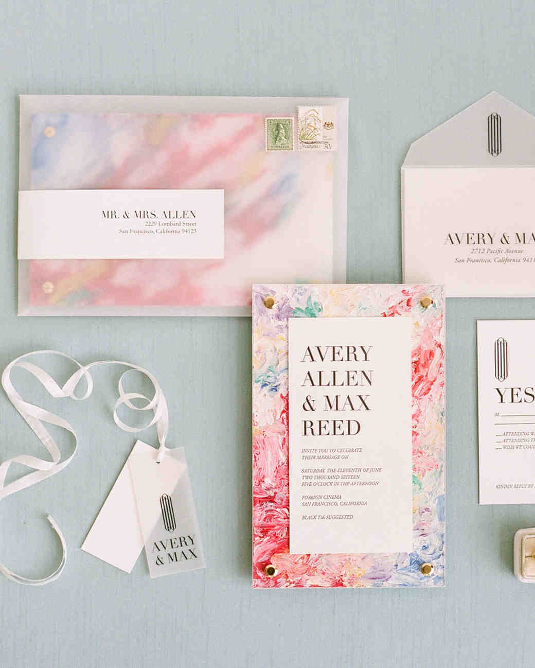 vellum envelopes for pink response cards