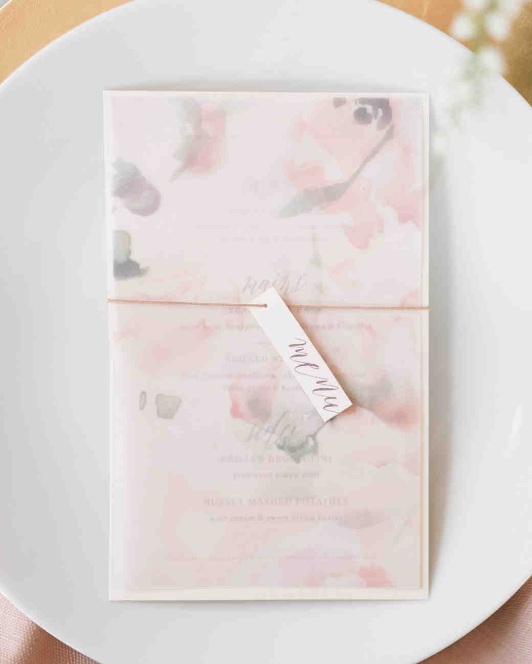 vellum floral overlay on pink menu