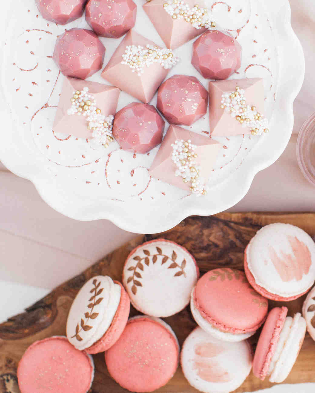 pink and white decorated macarons
