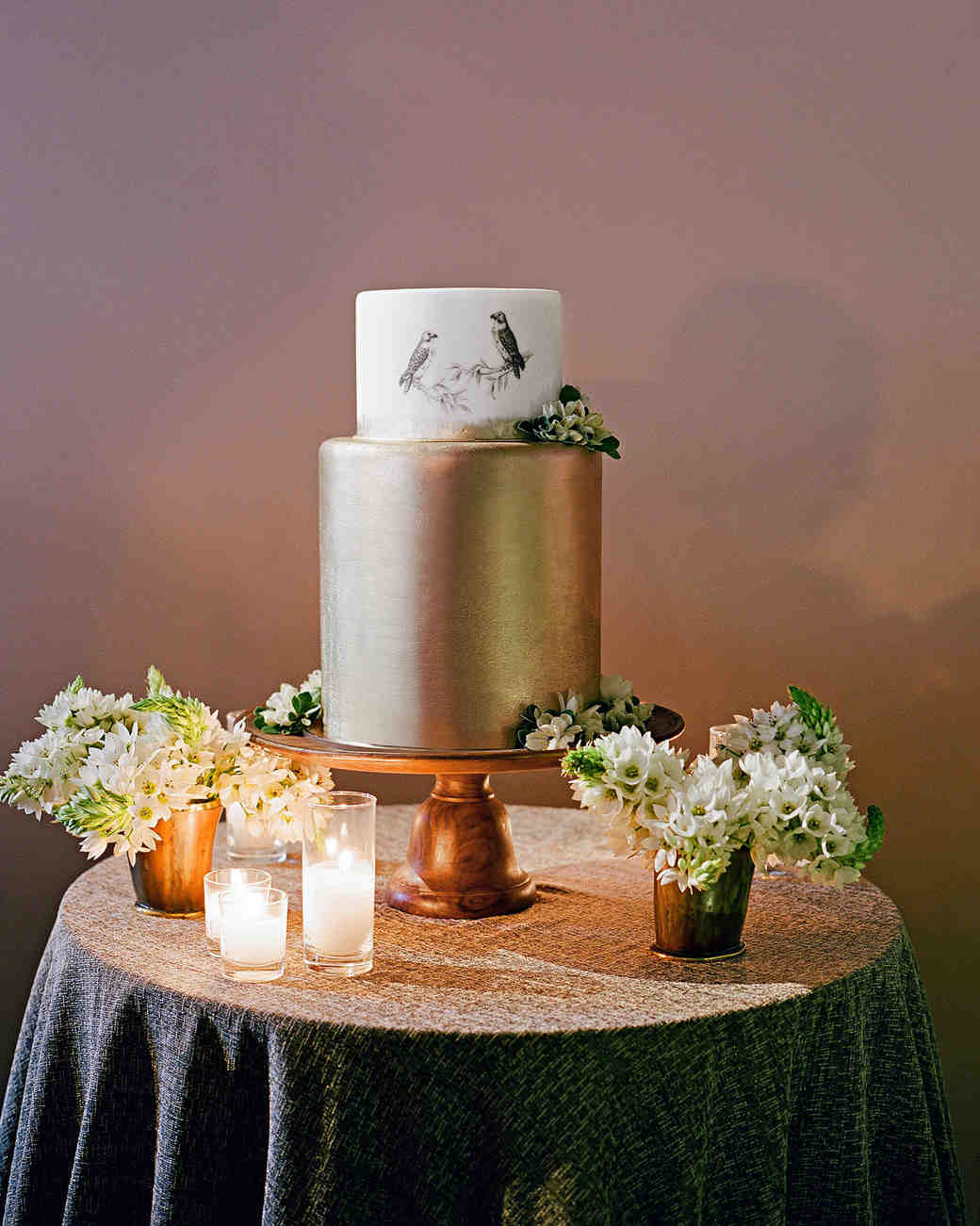 whitney zach wedding cake gold with birds