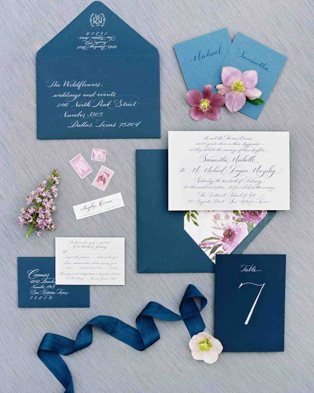 dark blue wedding stationery suite