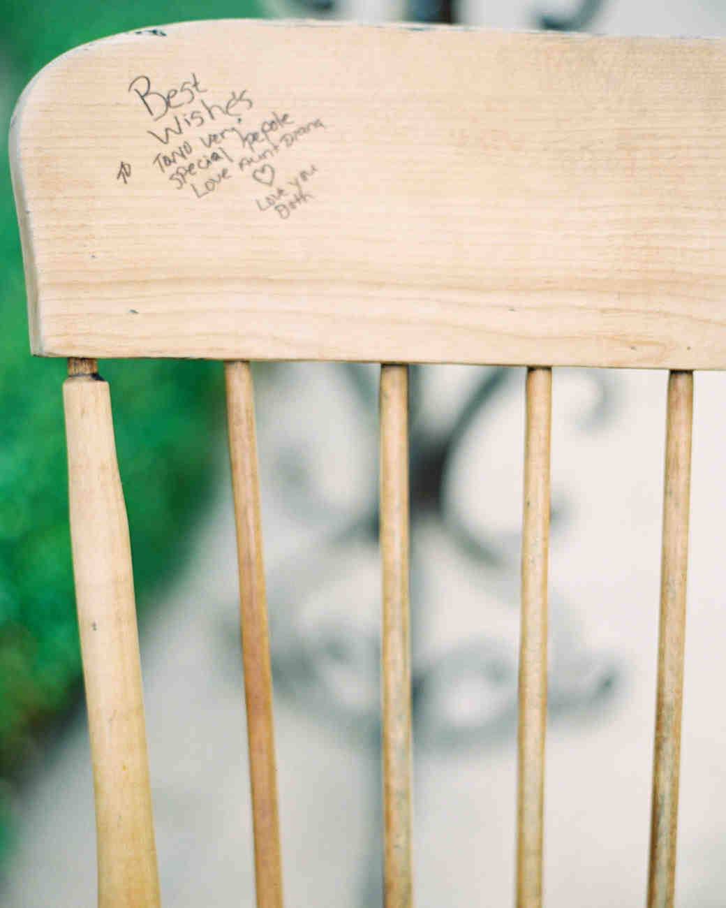 guest book signature wooden chair furnature