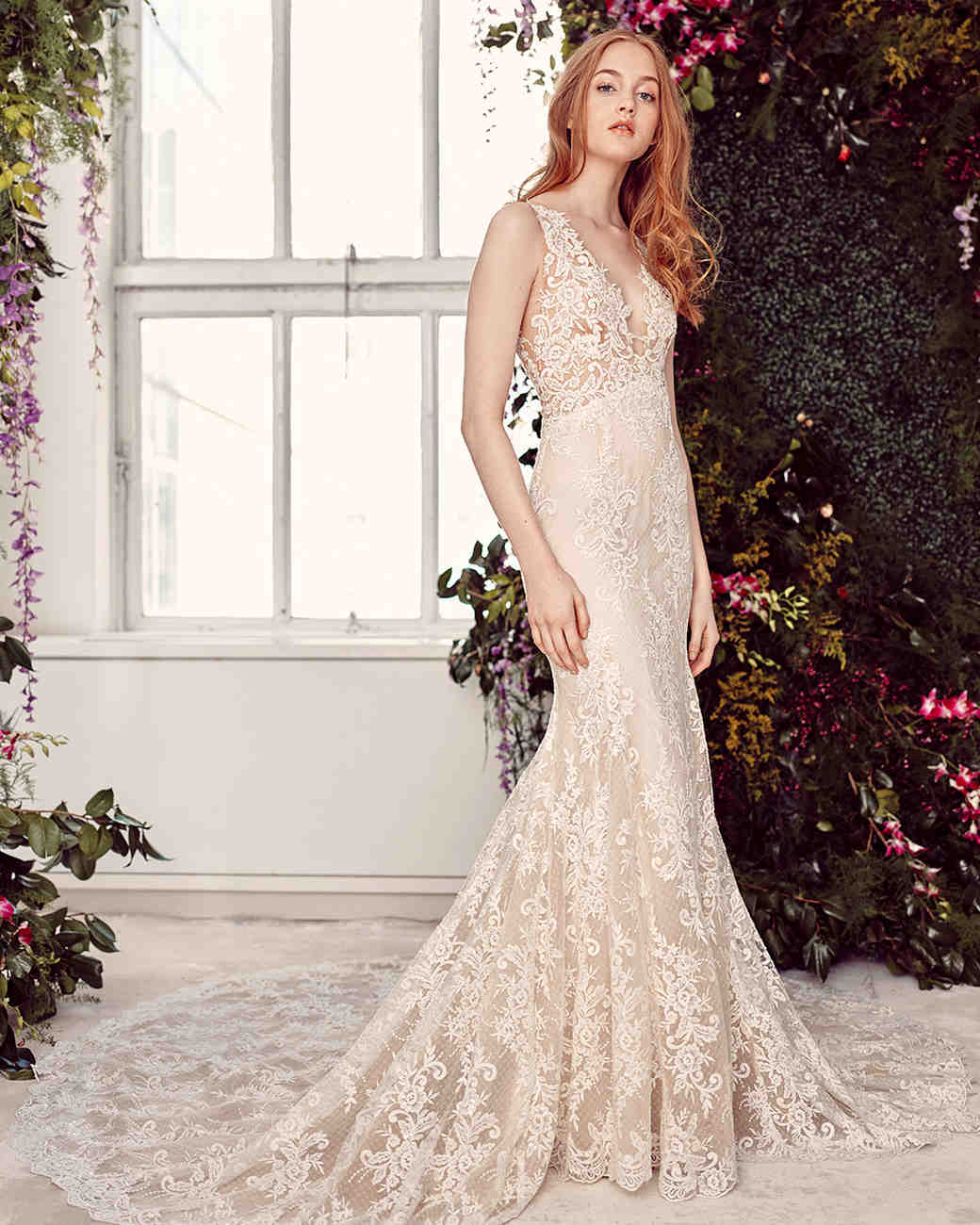 alyne by rita vinieris v-neck lace overlay wedding dress spring 2020