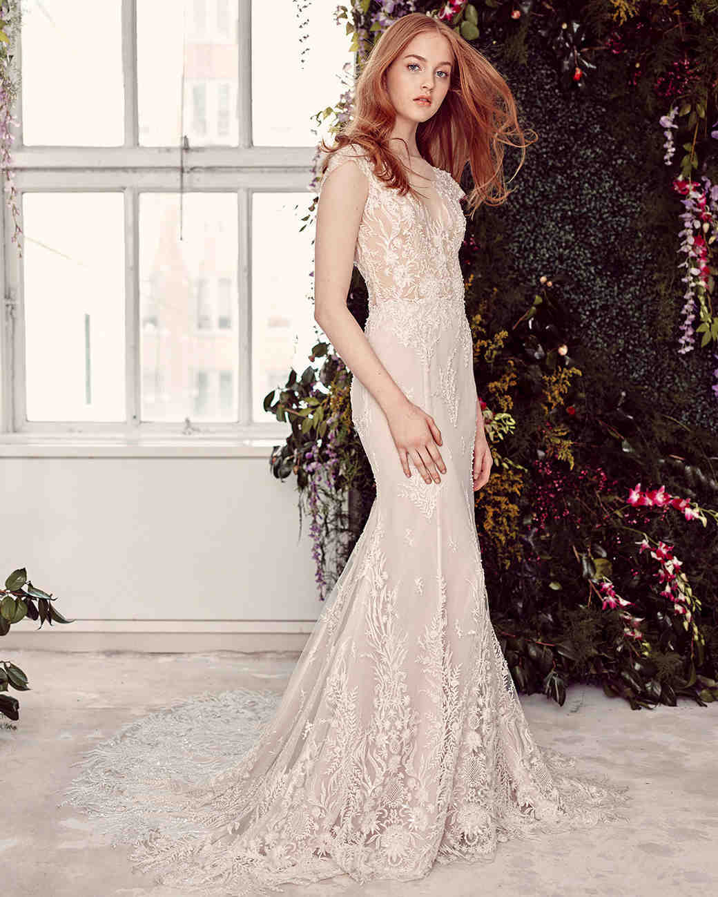 alyne by rita vinieris lace cap-sleeved trumpet wedding dress spring 2020