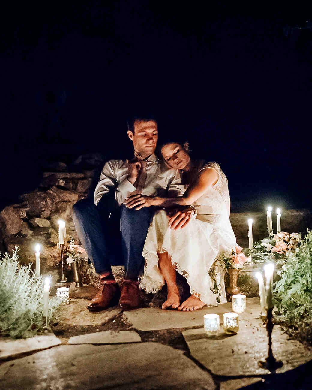 amy nick wedding night candles couple