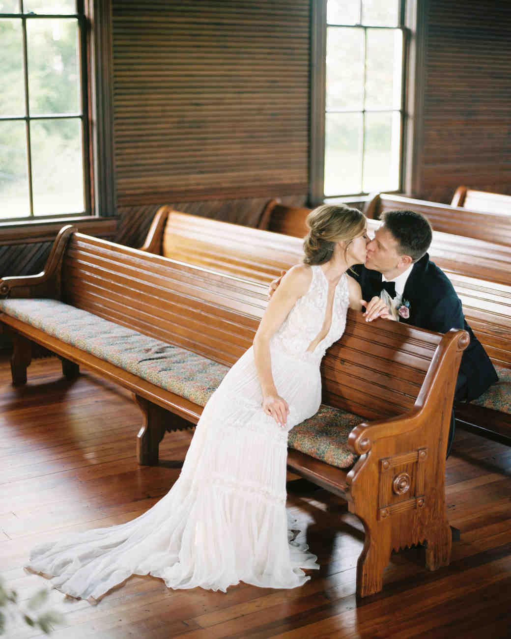 ashley adam wedding texas church kiss