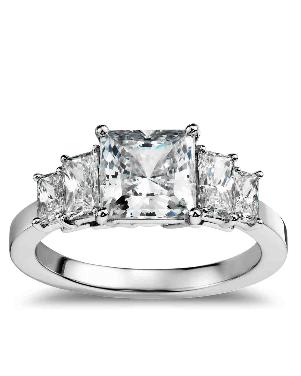 princess-cut diamond engagement rings | martha stewart weddings