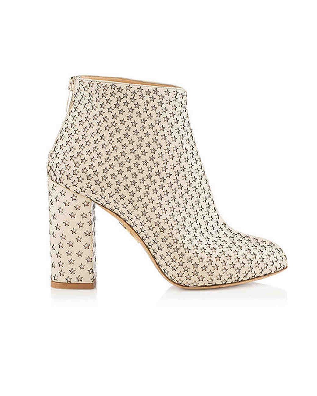 bridal booties charlotte olympia alba star chunky heels